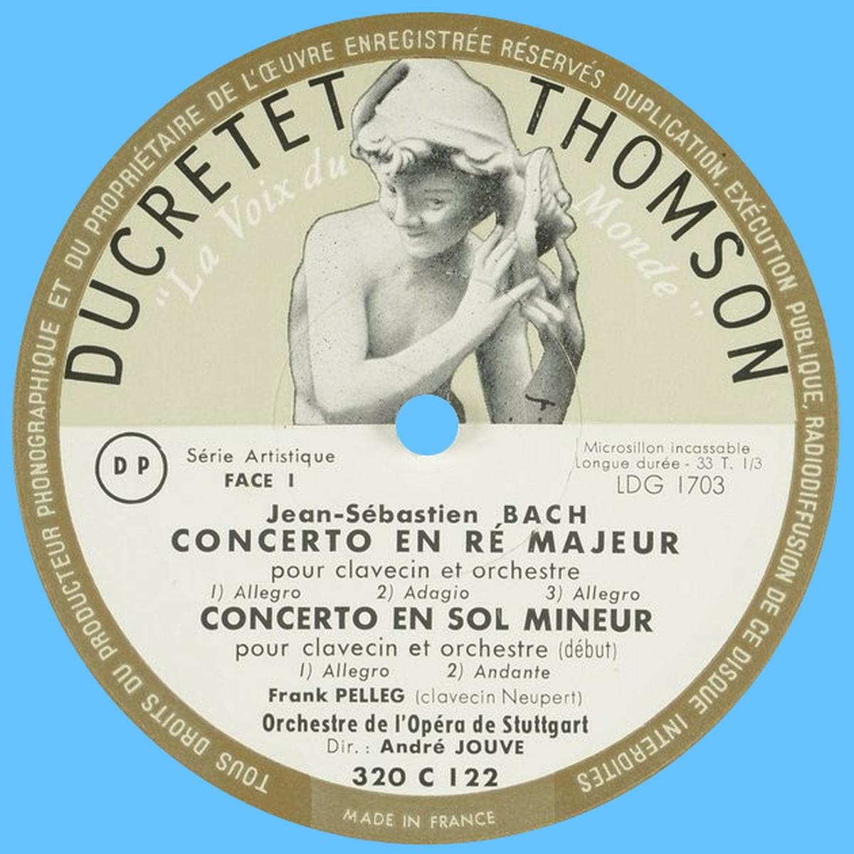 Étiquette recto du disque Ducretet-Thomson 320 C 122