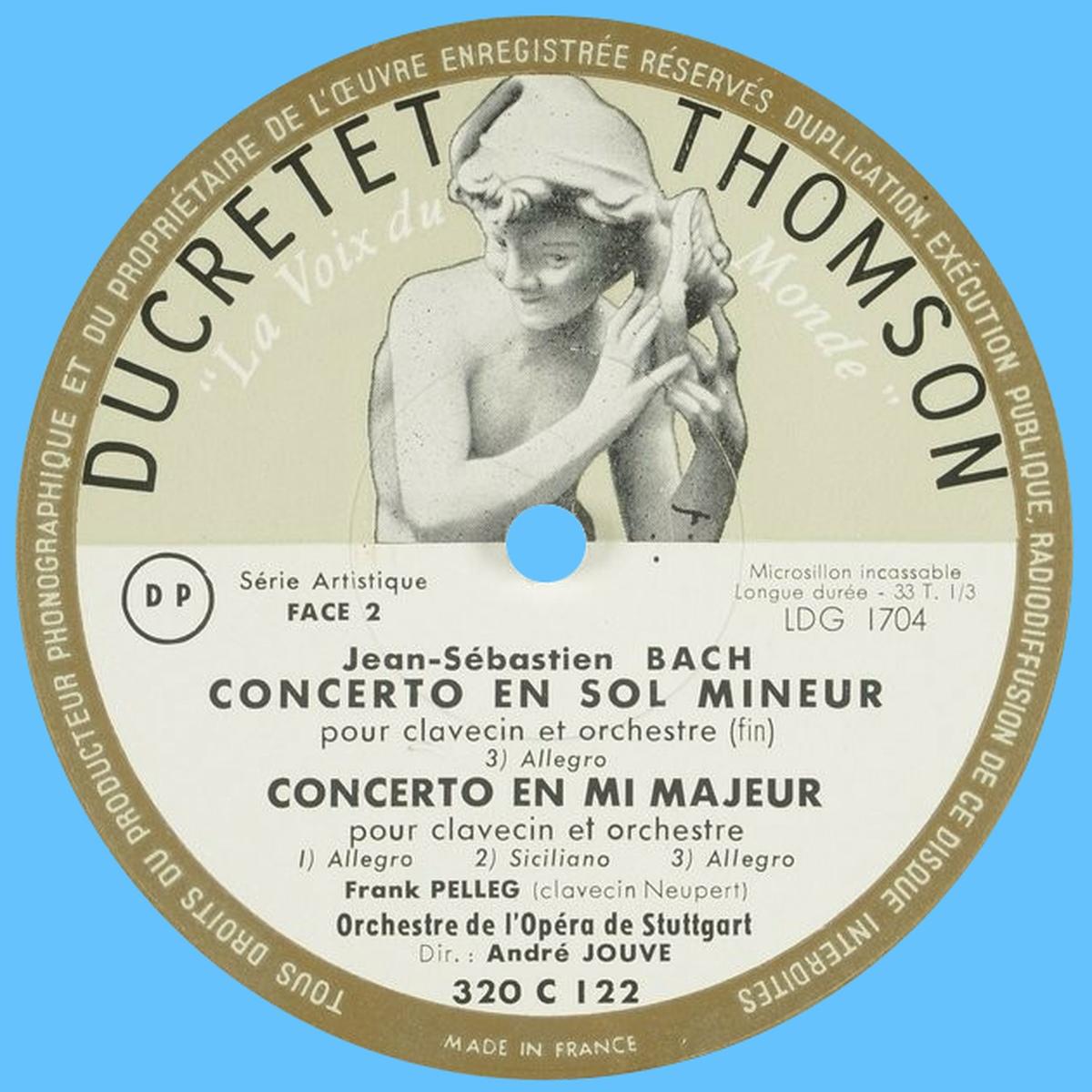 Étiquette verso du disque Ducretet-Thomson 320 C 122