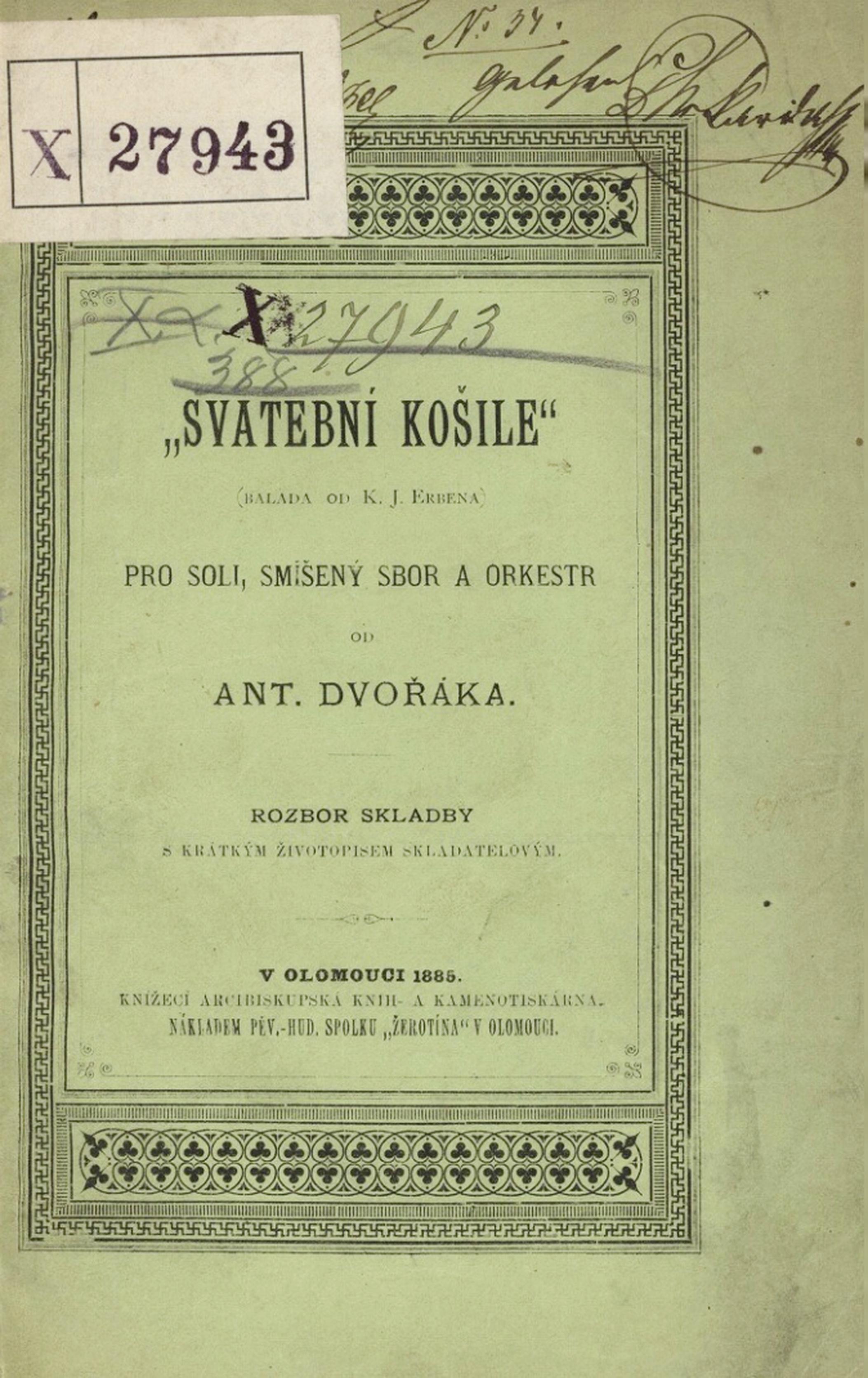 Page de garde d'une édition commentant le texte de la cantate, en tchèque, cliquer pour plus d'infos
