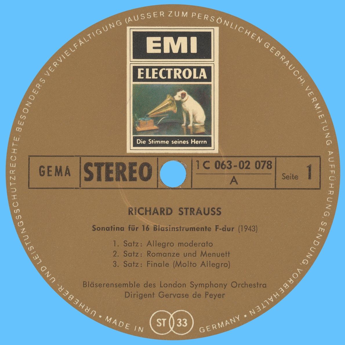 Étiquette verso du disque EMI 1C 063-02 078
