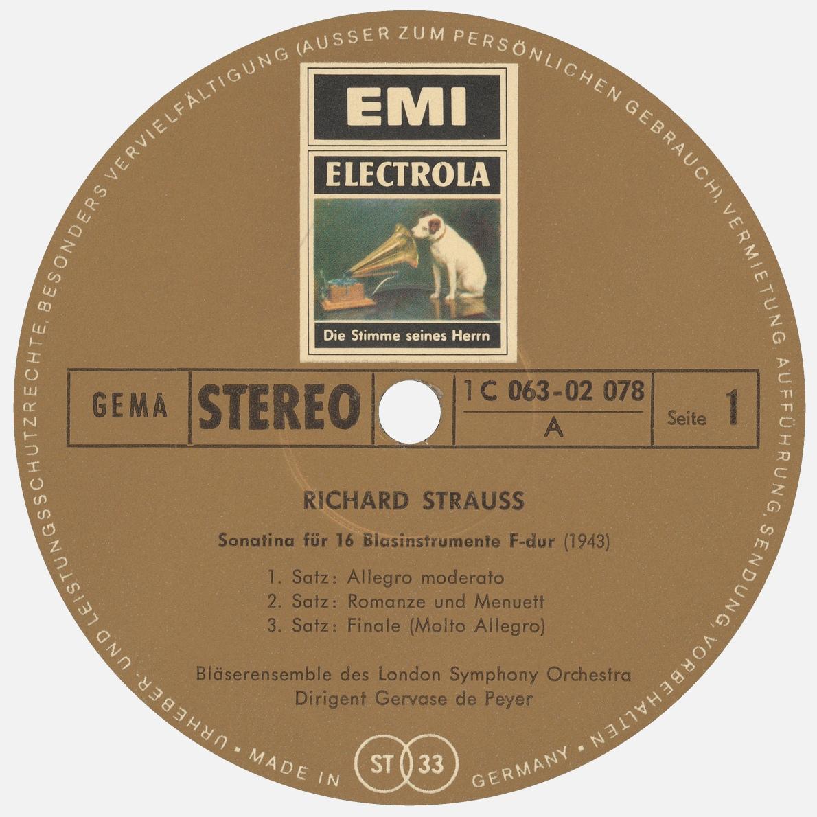 Étiquette recto du disque EMI 1C 063-02 078