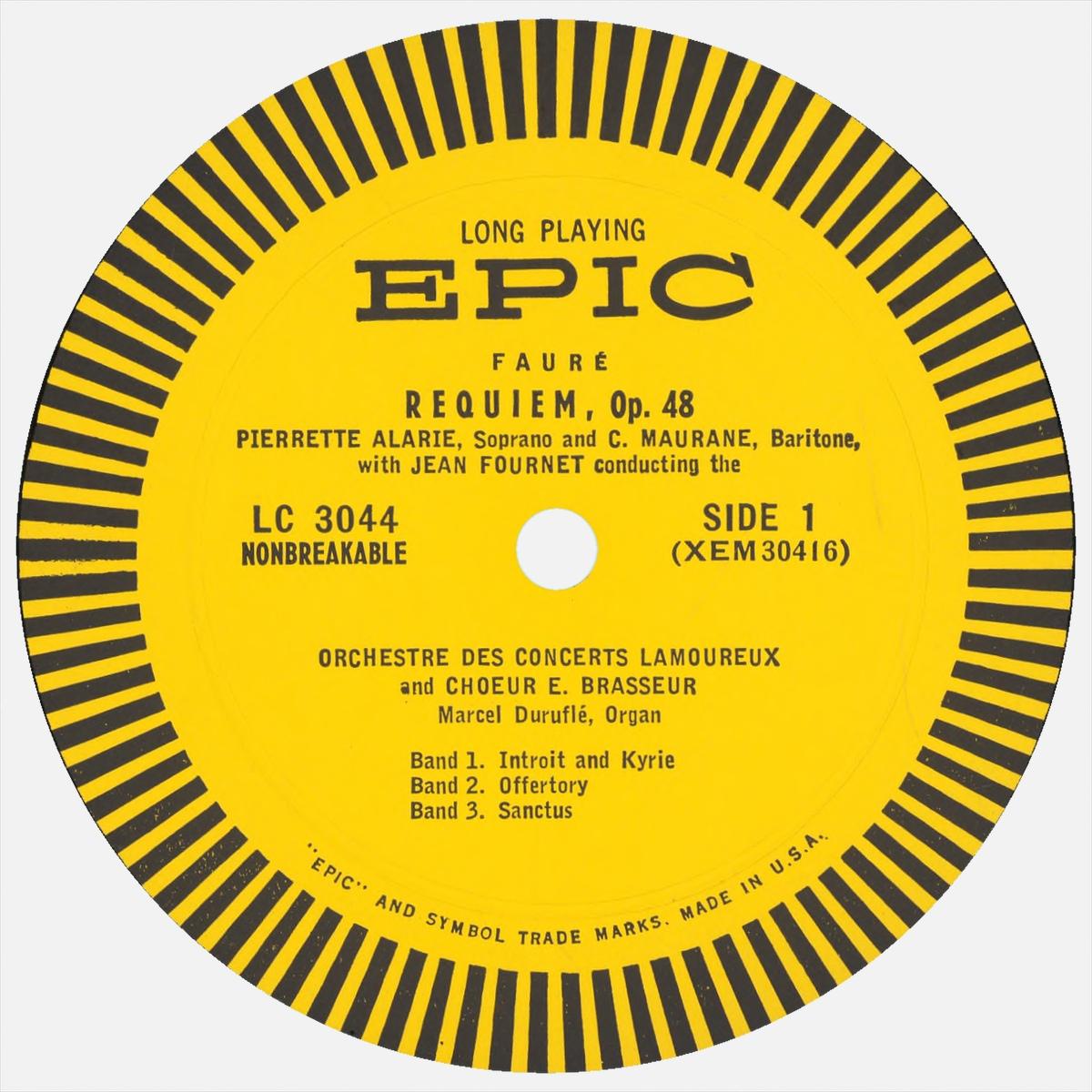 Étiquette recto du disque EPIC LC 3044