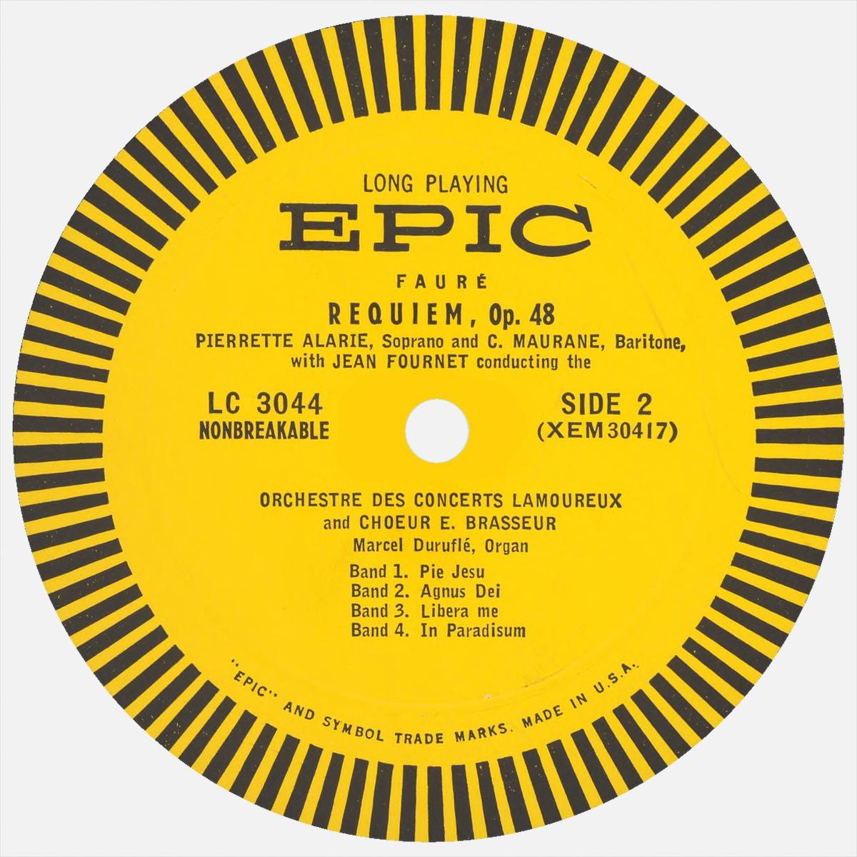 Étiquette verso du disque EPIC LC 3044