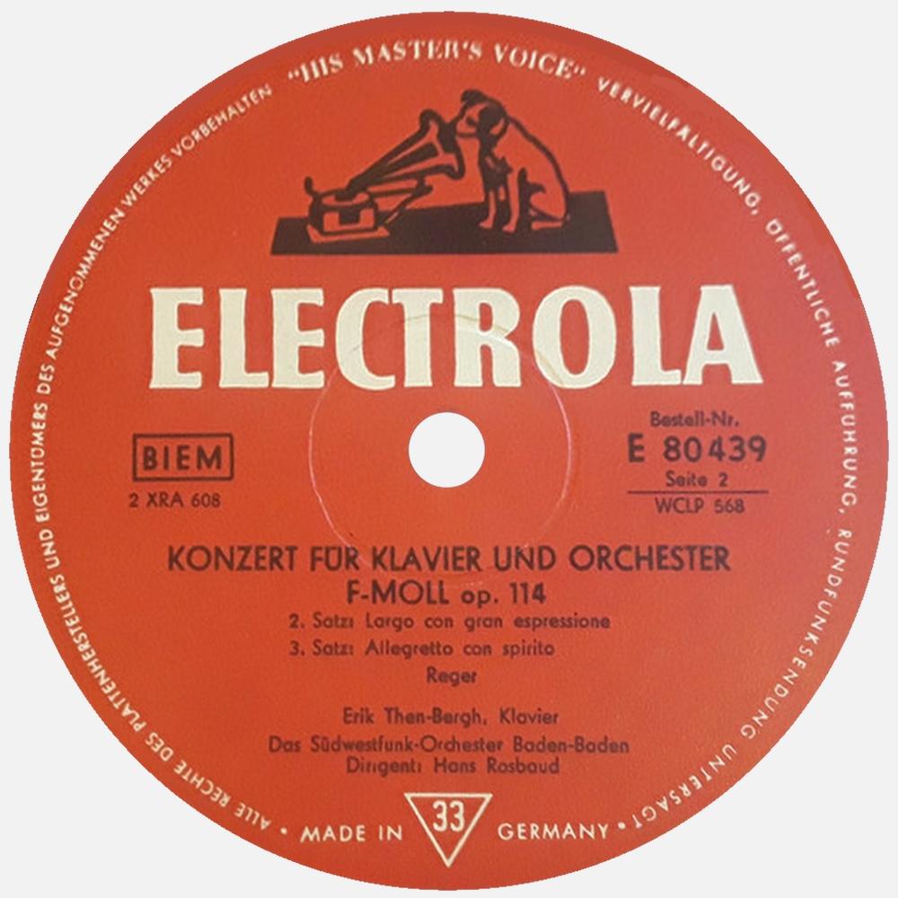 Étiquette verso du disque Electrola E 80 439