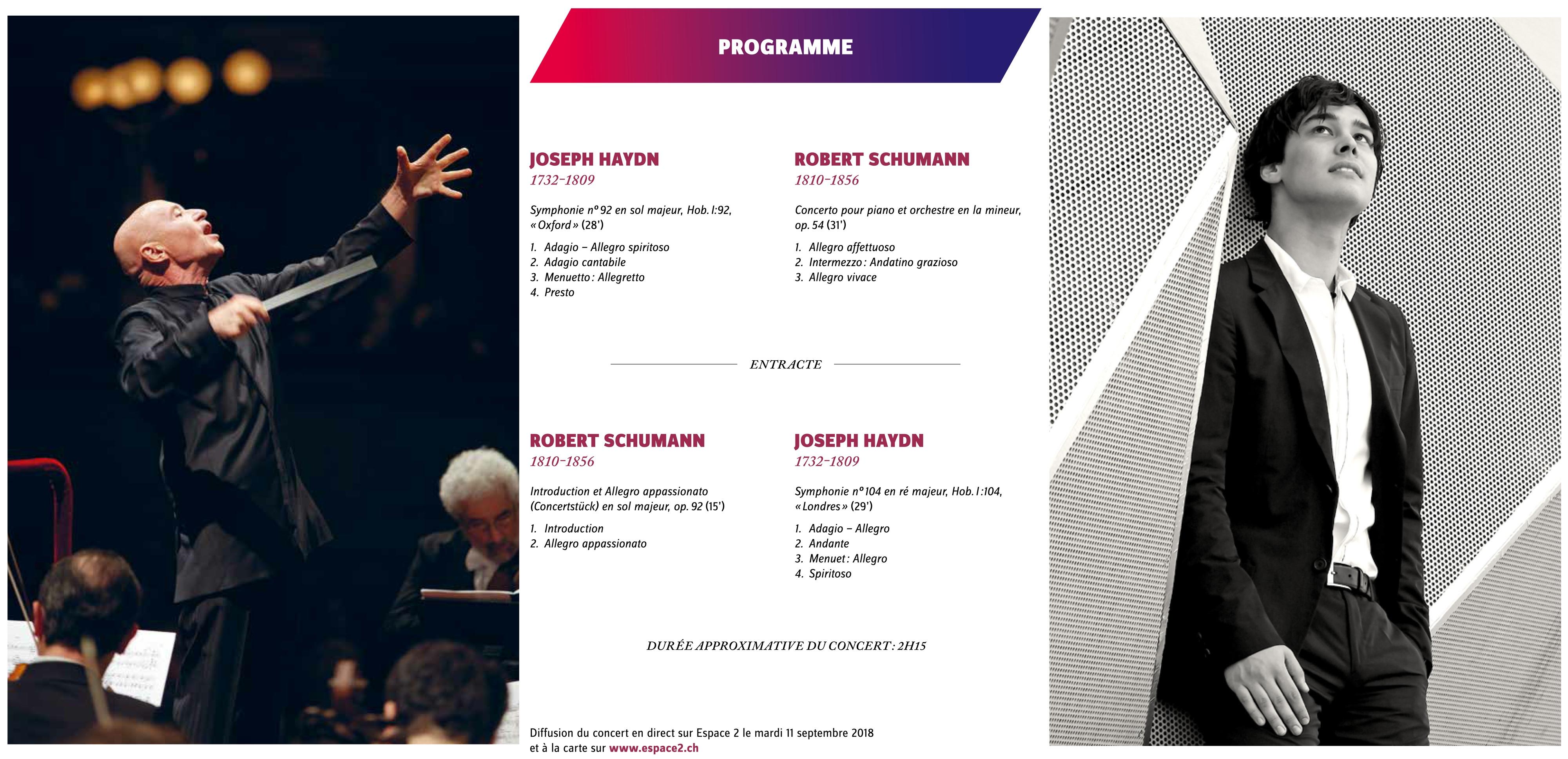 Concert des 10/11 septembre 2018, montage fait à partir de la brochure-programme de l'OCL