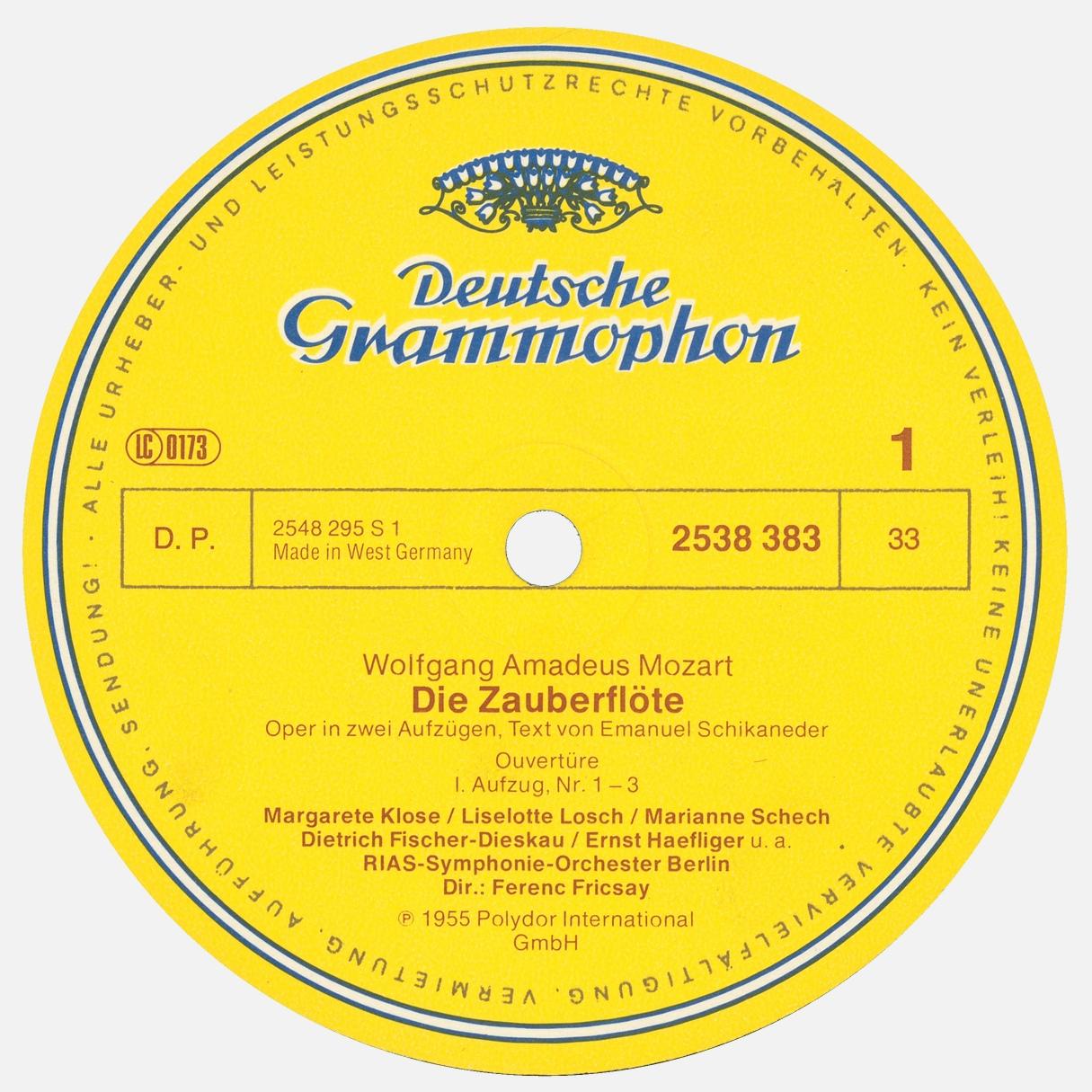 Étiquette recto du disque 2538 383 / 2548 295 S 1