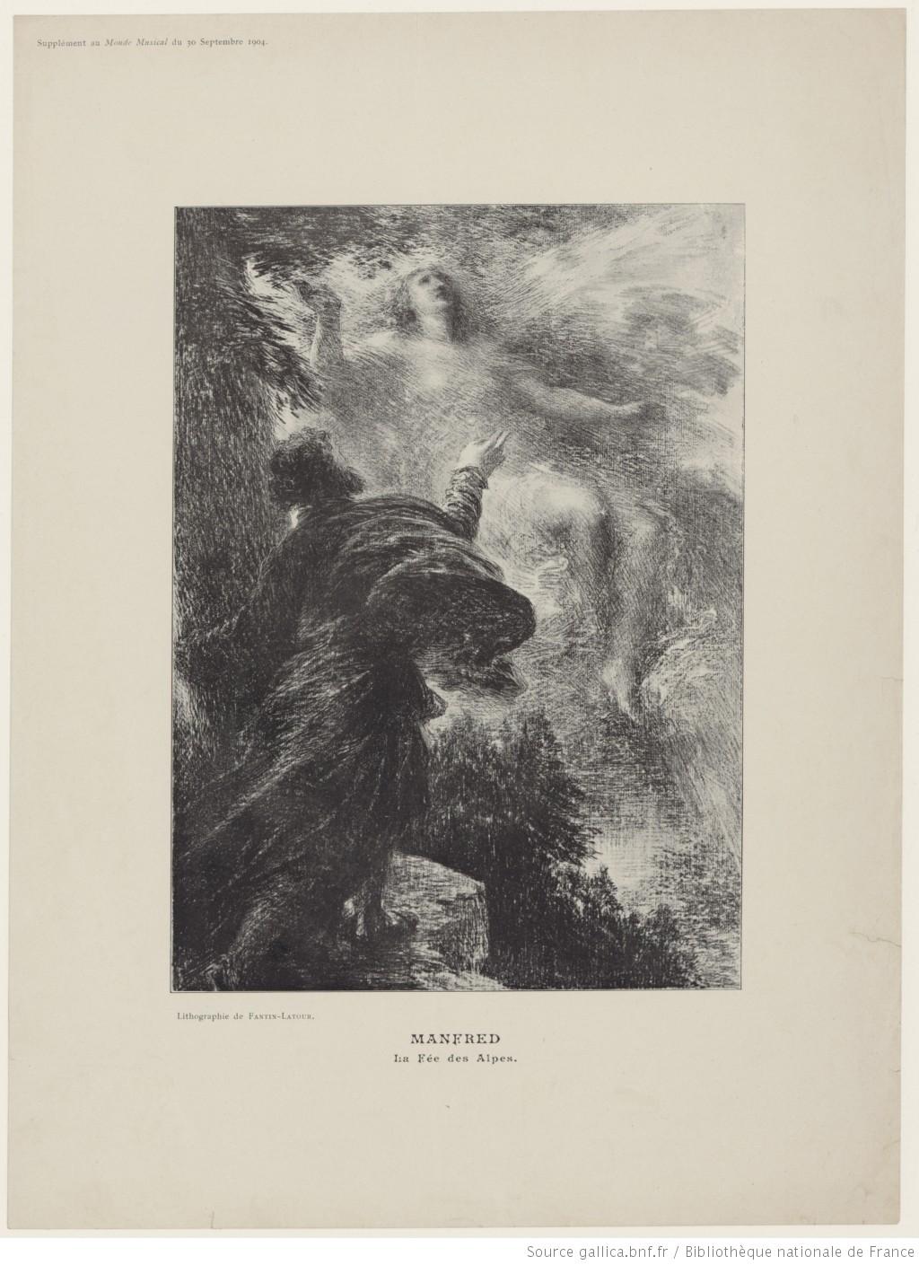 Manfred, la fée des Alpes, lithographie de Henri Fantin-Latour, 1904, Format:  1 impr. photoméc. (ill. de périodique): photogravure; 23,5 x 17 cm (tr. c.), Copyright: domaine public, ID ark:/12148/btv1b8424873h, Bibliothèque nationale de France, Cliquer sur la photo pour voir l'original et ses références