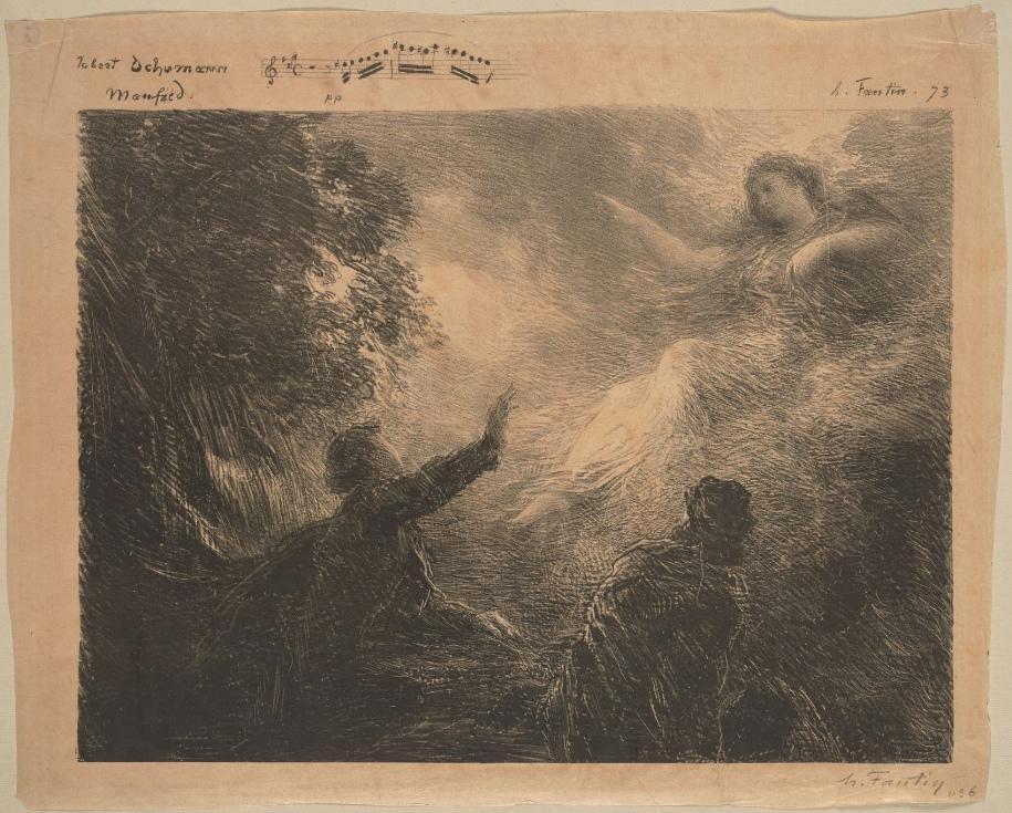 """Manfred, la fée des Alpes, lithographie de Henri Fantin-Latour, 1873. Sur la gauche, il y a un amoncellement de rochers où poussent des buissons et d'où coule une cascade. Au premier plan, Manfred, de profil, lève le bras et prononce les mots ardents de l'évocation. Dans la poussière blanche de la cascade, la Fée des Alpes apparaît. Elle est vêtue de légers voiles et flotte, moitié couchée et moitié assise sur les nuages. En dessous d'elle, au premier plan, un personnage vu de dos. Cette scène appartient au No 6 «Rufung der Alpenfee»,  """"Du schöner Geist mit deinem Haar"""", du Manfred de Robert Schumann, Cliquer sur la photo pour voir l'original et ses références"""