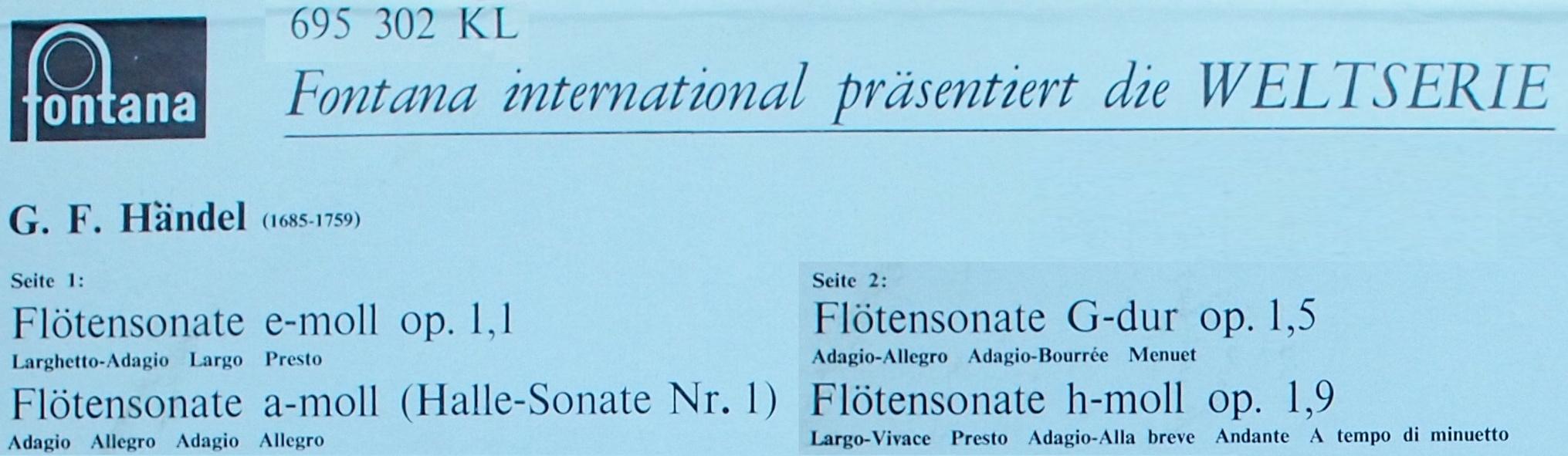 Montage d'extraits du verso du disque Fontana 695 302 KL