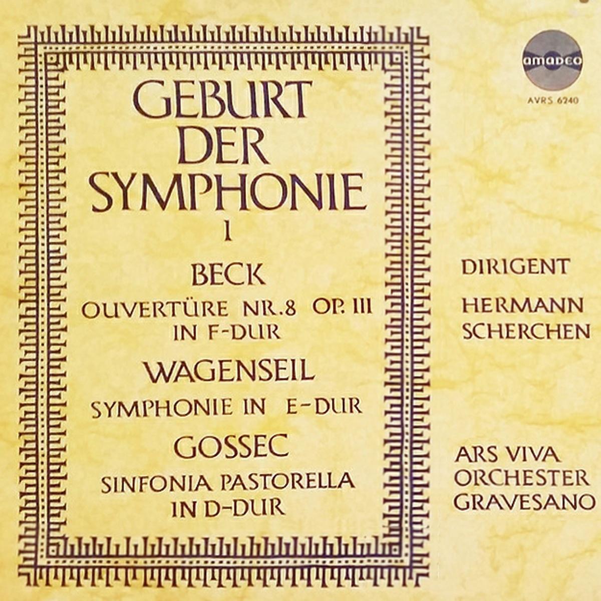 Recto de la pochette du disque Amadeo AVRS 6240, 1er volume de «Geburt der Symphonie»