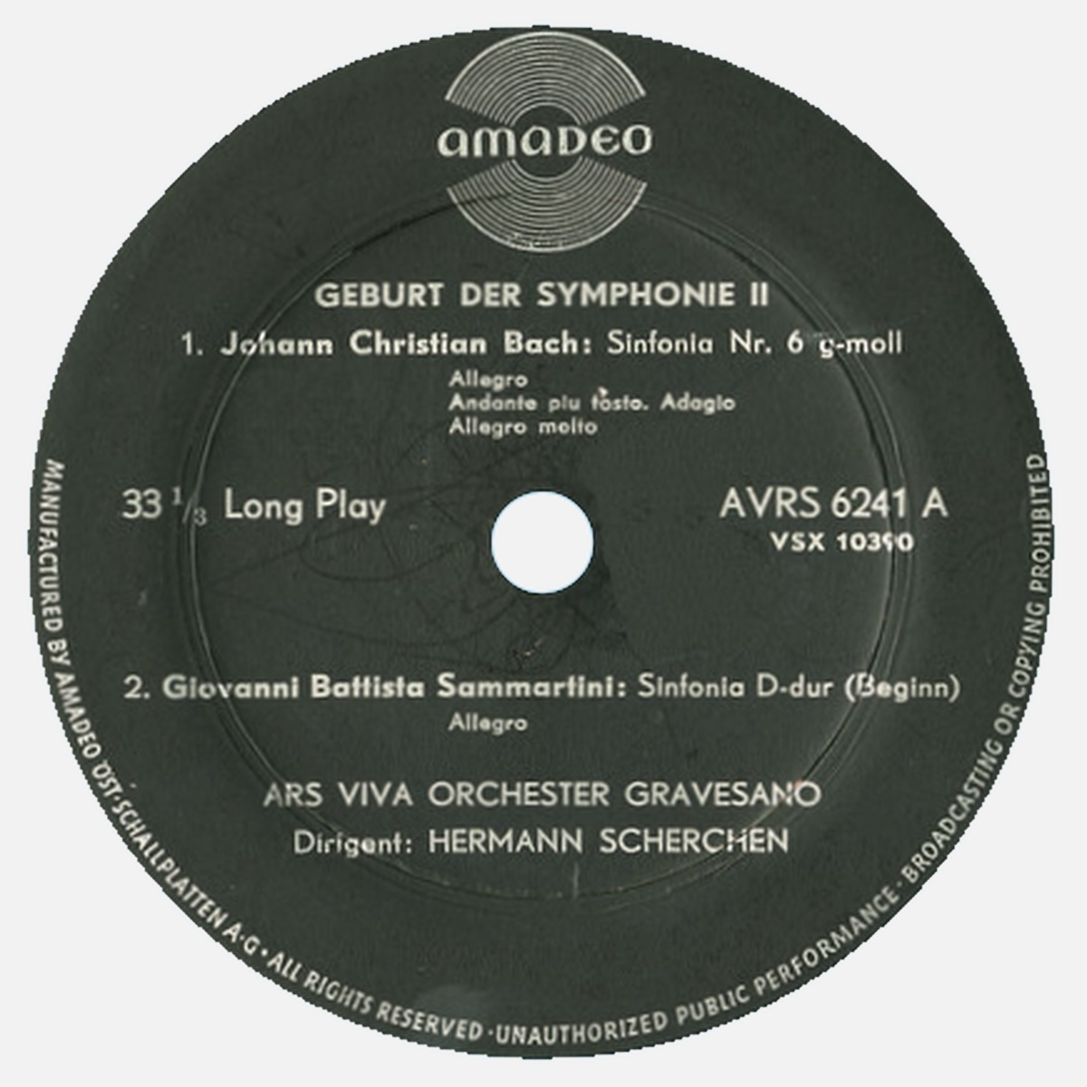 Étiquette recto du disque Amadeo AVRS 6241, 2e volume de «Geburt der Symphonie»