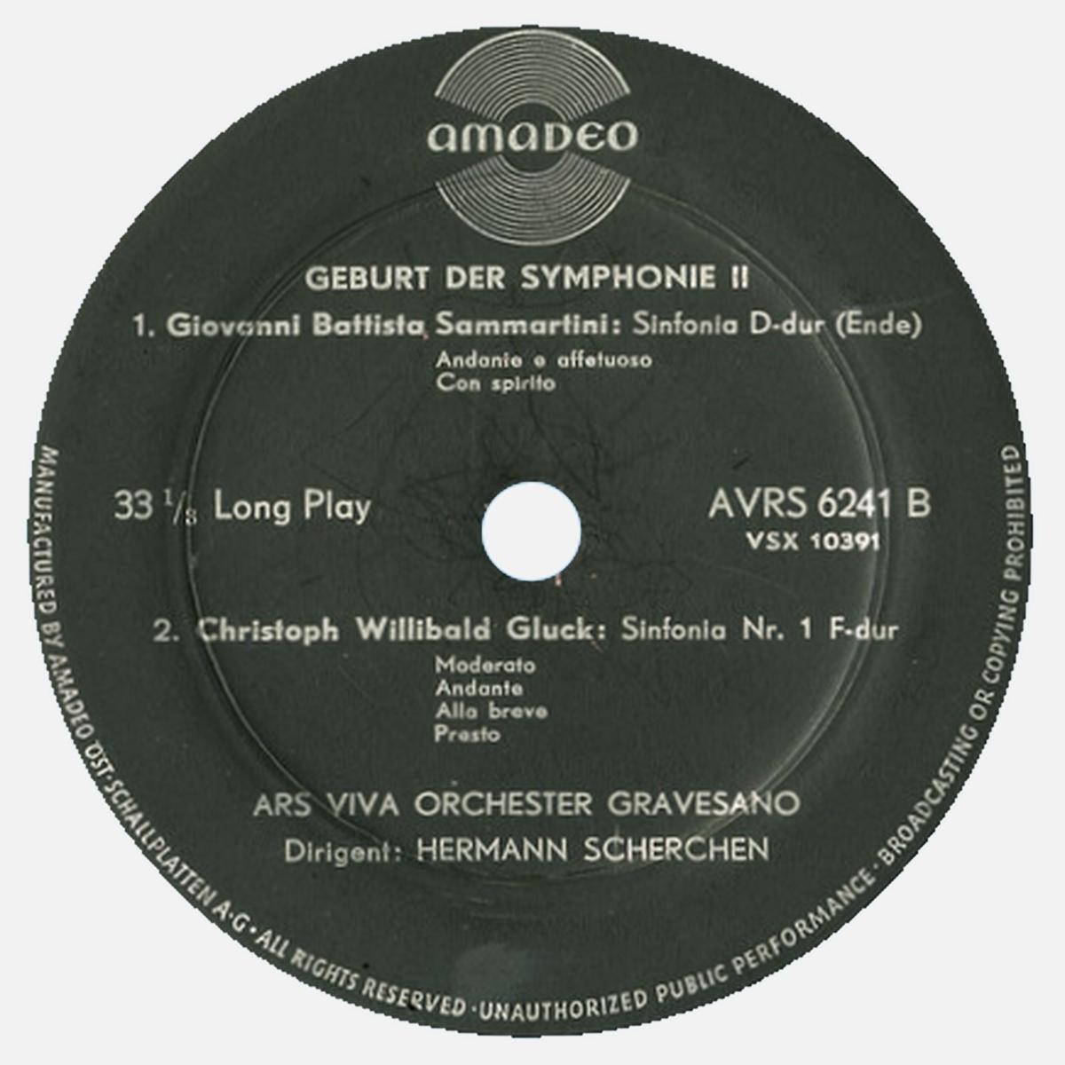 Étiquette verso du disque Amadeo AVRS 6241, 2e volume de «Geburt der Symphonie»