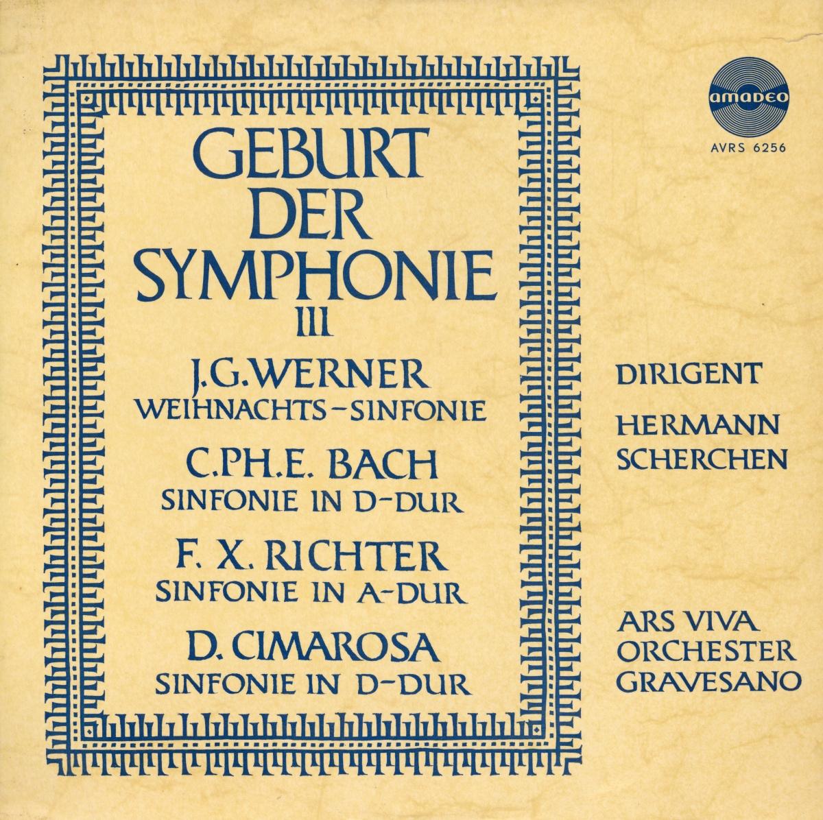 Recto de la pochette du disque Amadeo AVRS 6256, 3e volume de «Geburt der Symphonie»