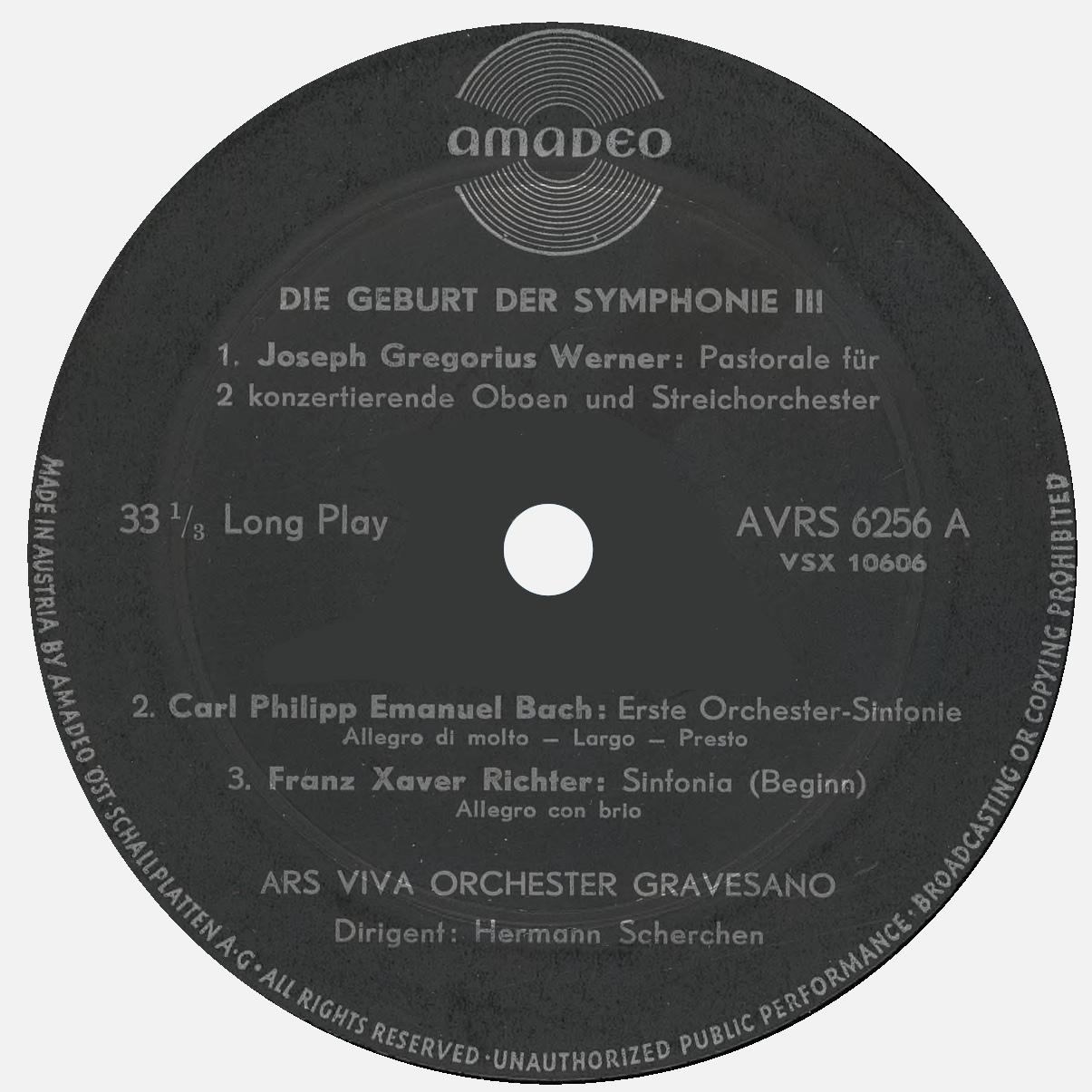 Étiquette recto du disque Amadeo AVRS 6256, 3e volume de «Geburt der Symphonie»