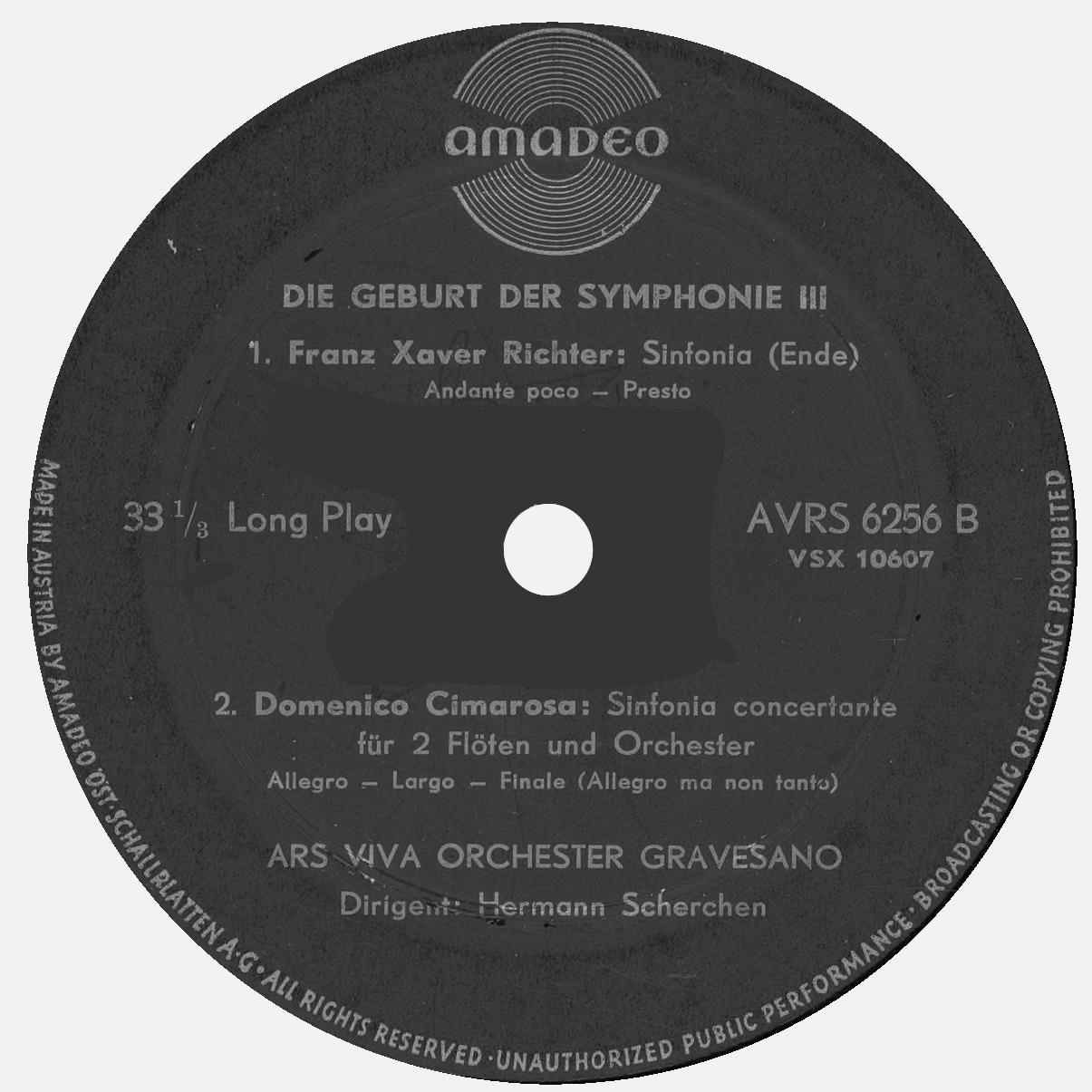 Étiquette verso du disque Amadeo AVRS 6256, 3e volume de «Geburt der Symphonie»