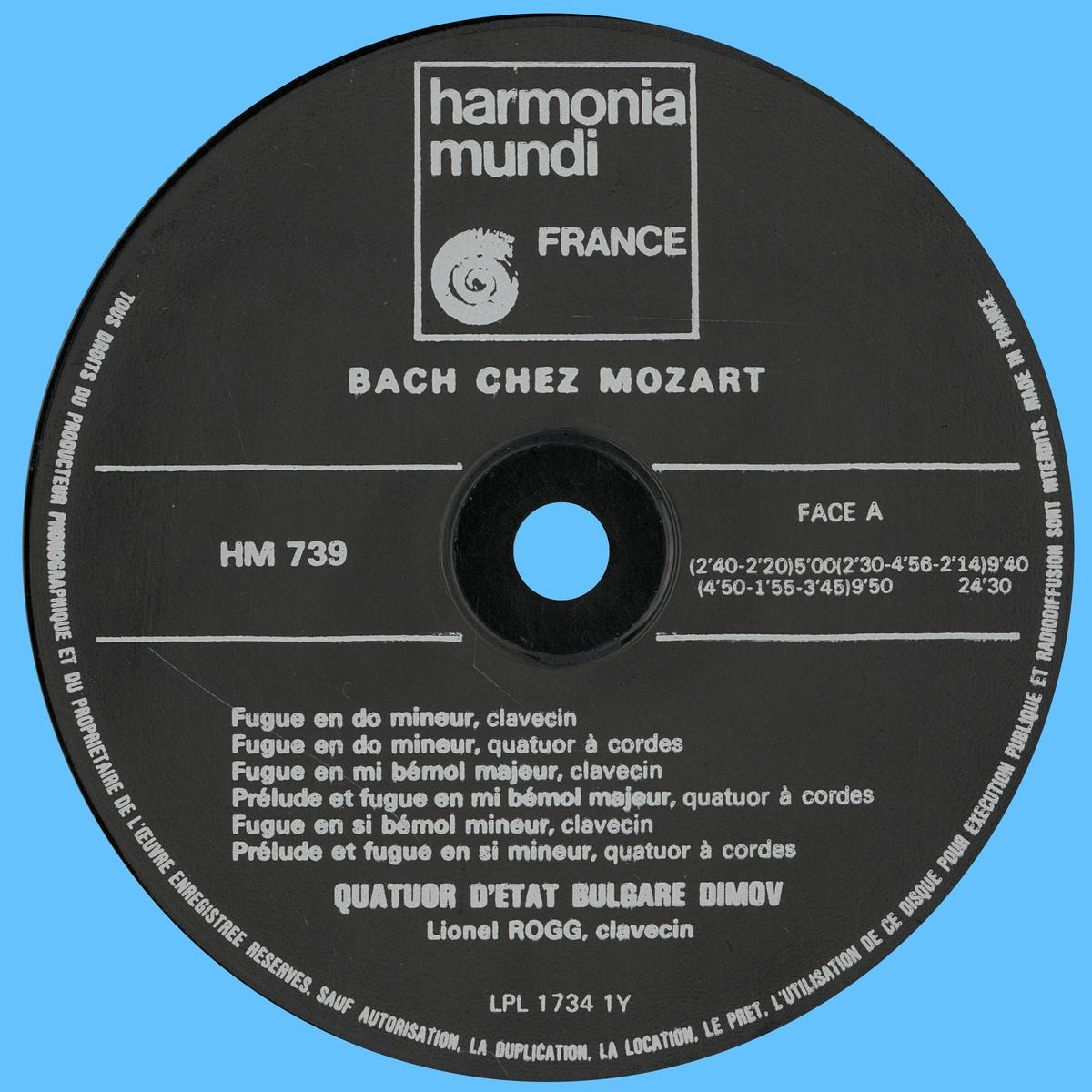 Étiquette recto du disque Harmonia Mundi HM 739