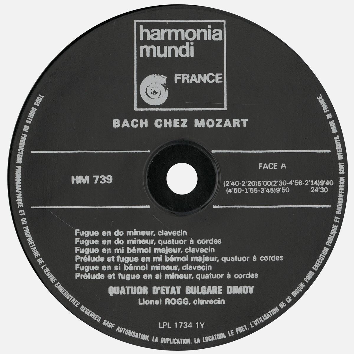 Étiquette recto du disque Harmonia Mundi HM 739, Cliquer sur la photo pour une vue agrandie