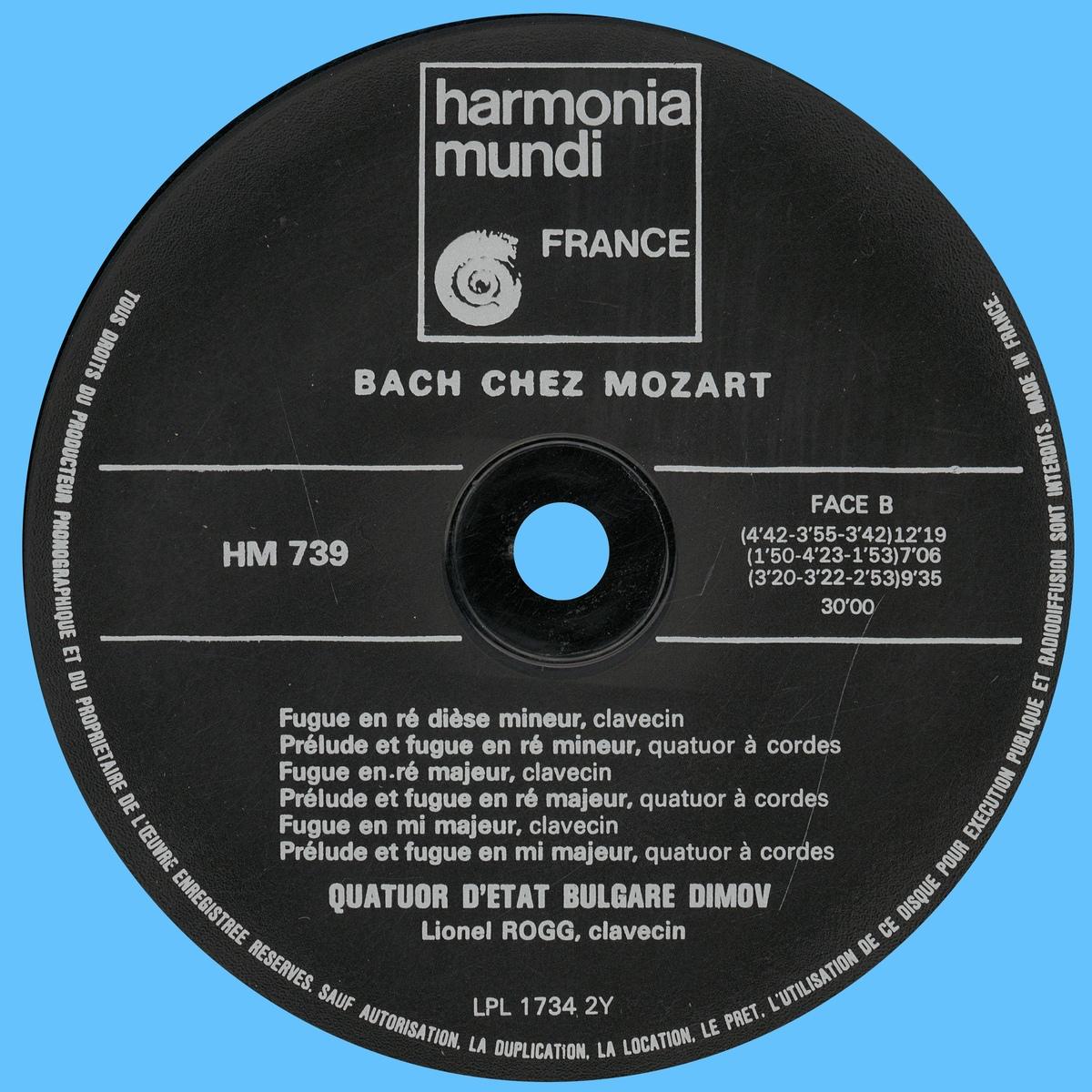 Étiquette verso du disque Harmonia Mundi HM 739