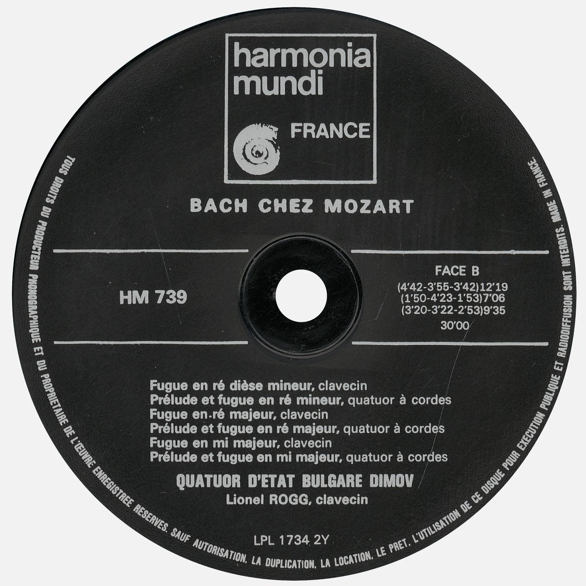 Étiquette verso du disque Harmonia Mundi HM 739, Cliquer sur la photo pour une vue agrandie