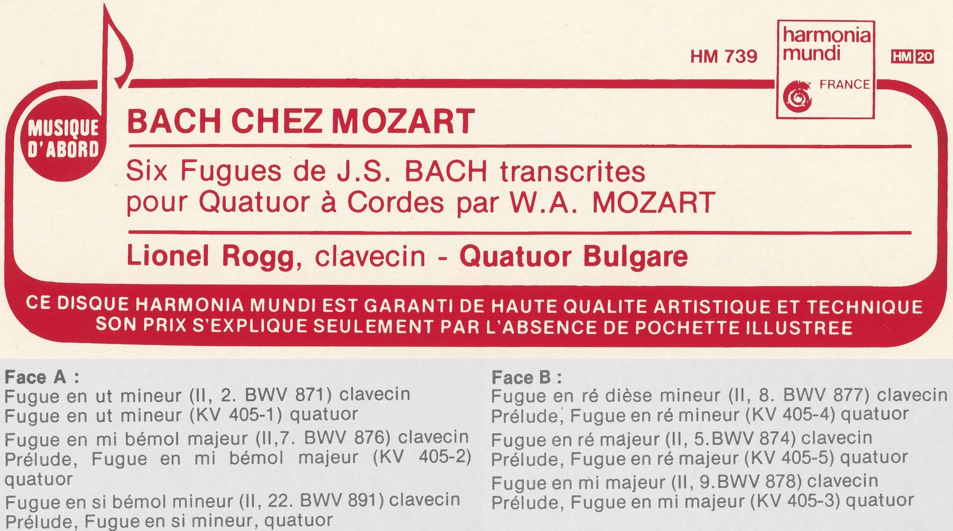Extraits du recto et de l'insert du disque Harmonia Mundi HM 739