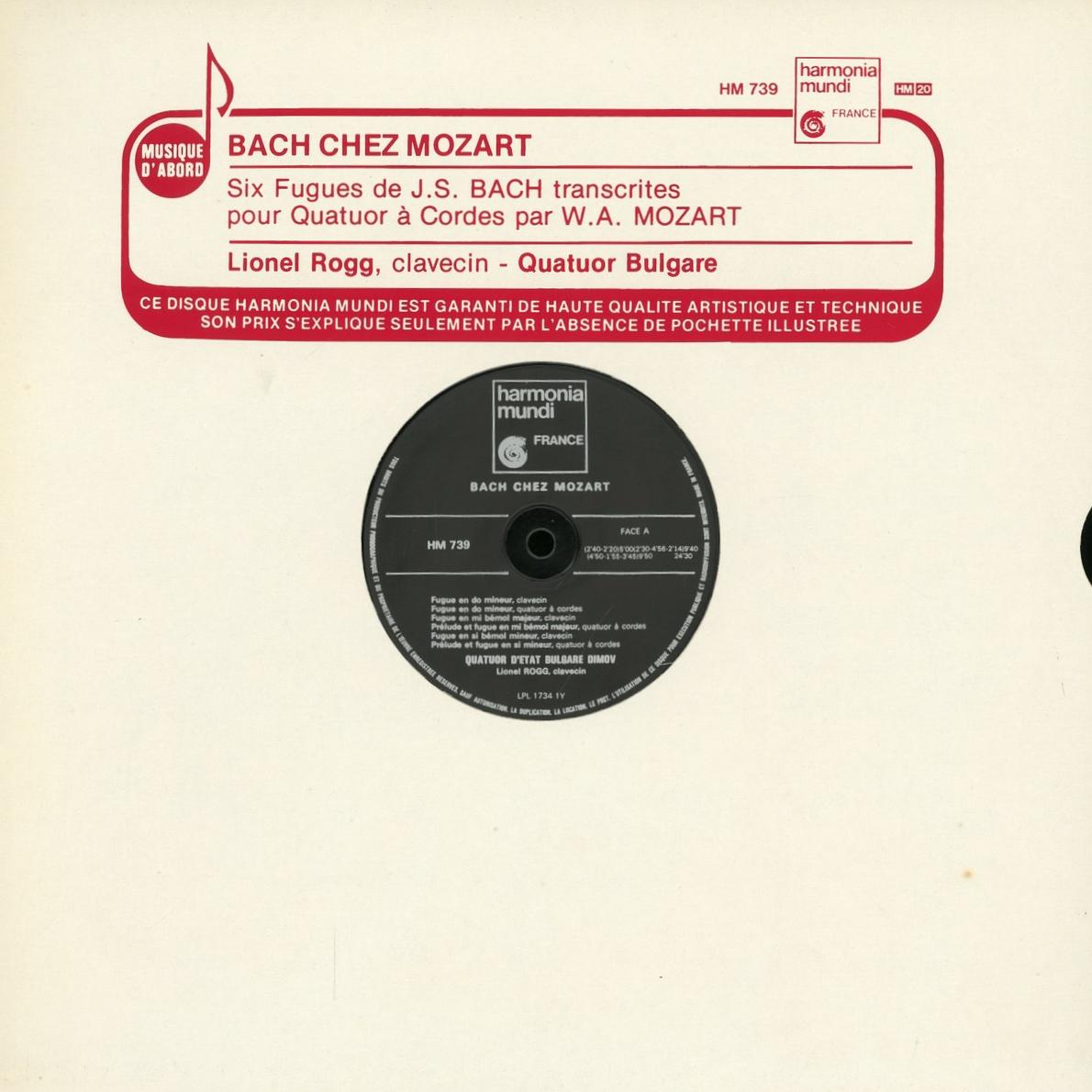 Recto de la pochette du disque Harmonia Mundi HM 739, Cliquer sur la photo pour une vue agrandie