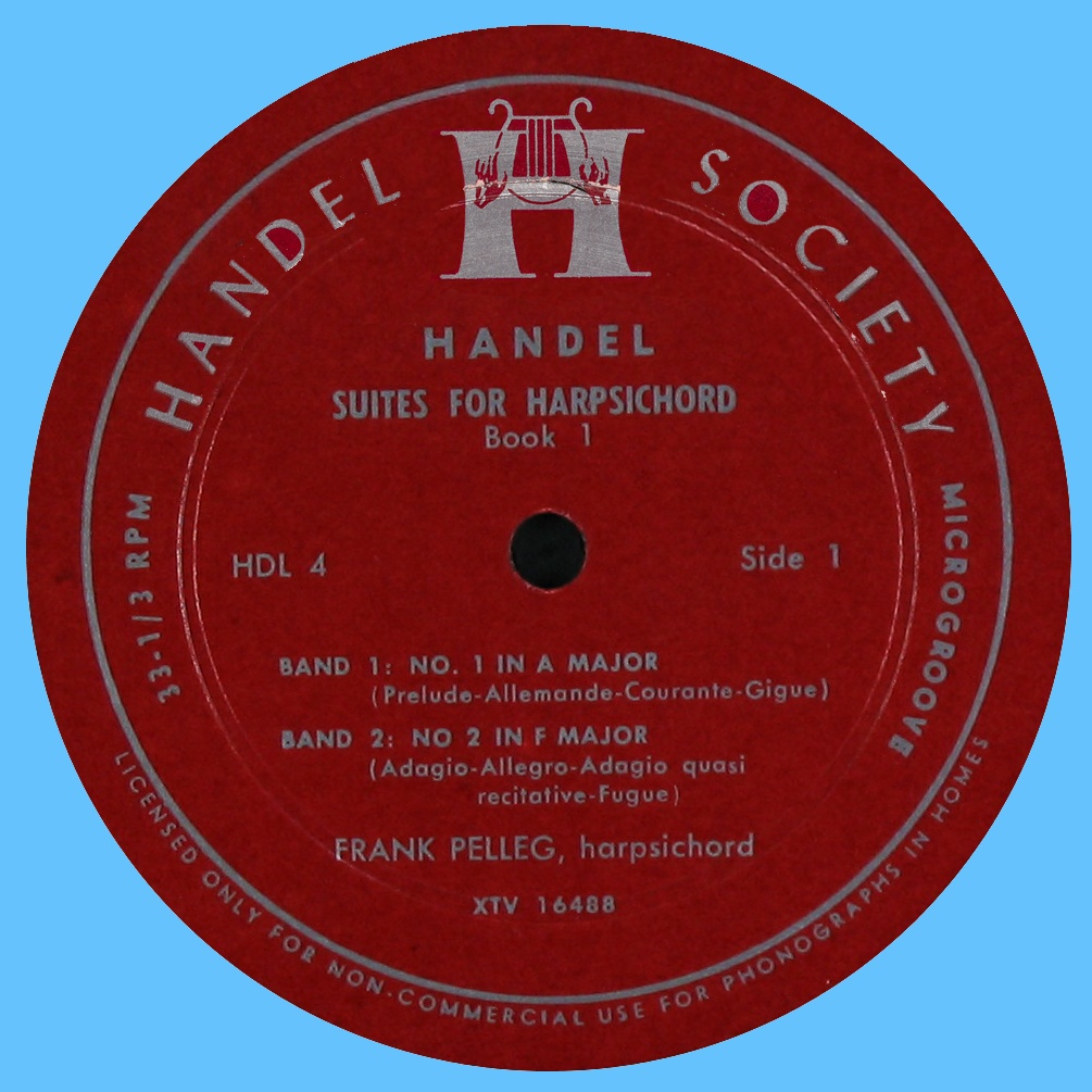 Étiquette recto du disque Handel Society HDL 4