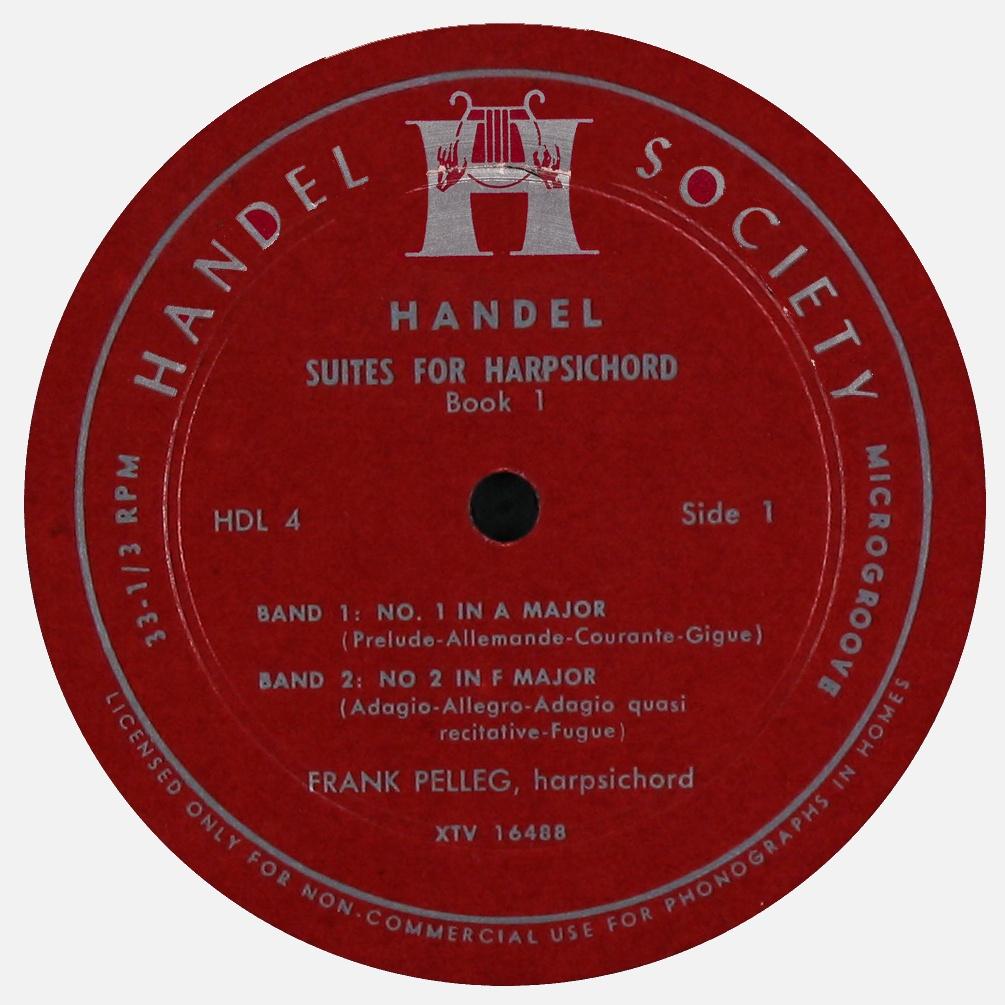 Étiquette recto du disque Handel Society HDL 4, Cliquer sur la photo pour une vue agrandie