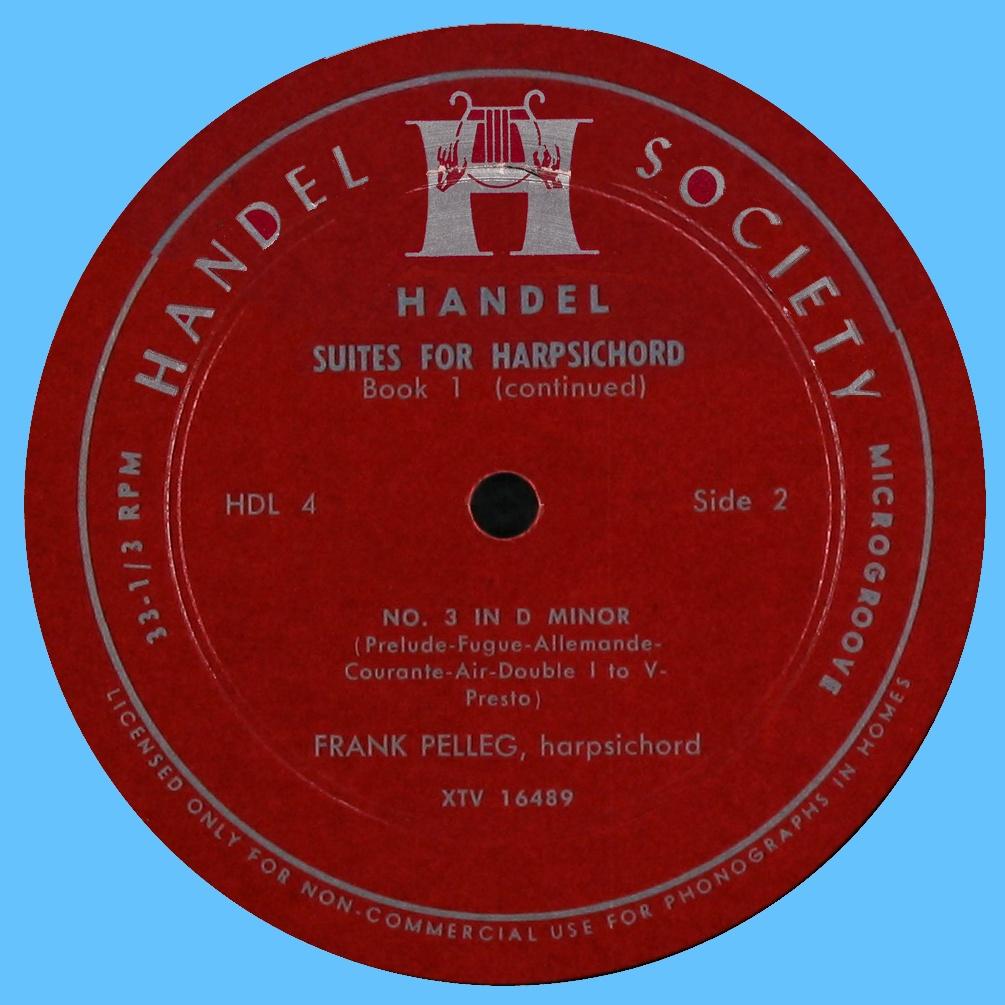 Étiquette verso du disque Handel Society HDL 4