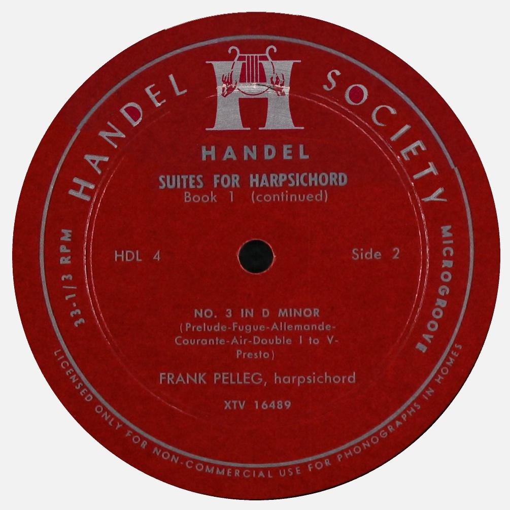 Étiquette verso du disque Handel Society HDL 4, Cliquer sur la photo pour une vue agrandie