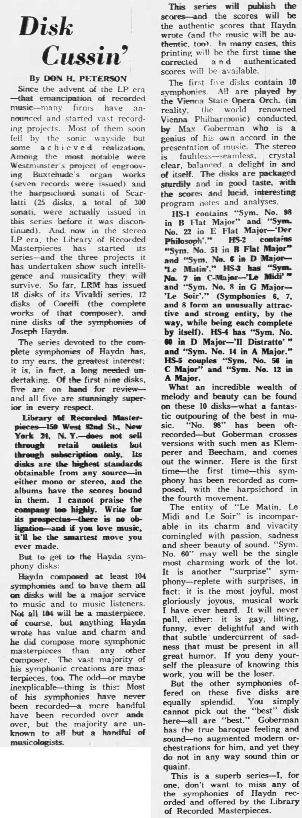Début de l'intégrale des symphonies de Haydn sous la direction de Max Goberman, recension publiée le 16 septembre 1962 dans le quotidien Santa Fe New Mexican en pages 3 et 12