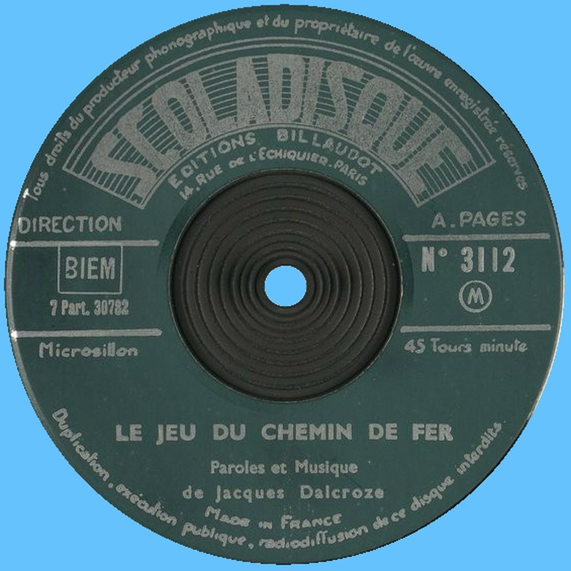 Étiquette verso du disque Scoladisque No 3112
