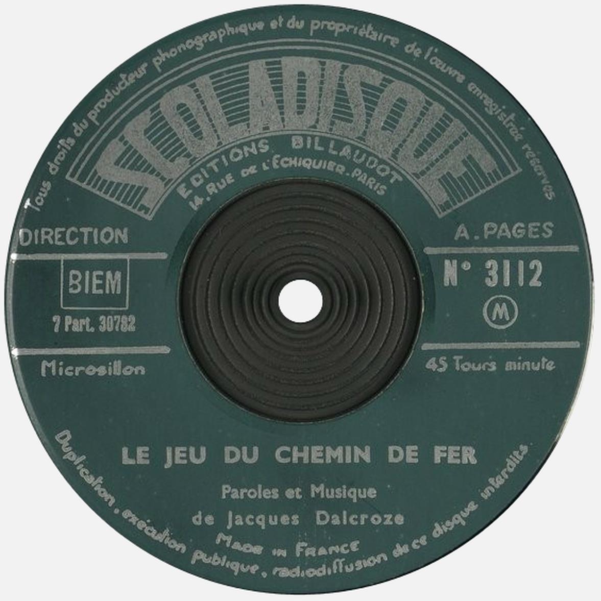 Étiquette verso du disque Scoladisque No 3112, Cliquer sur la photo pour une vue agrandie