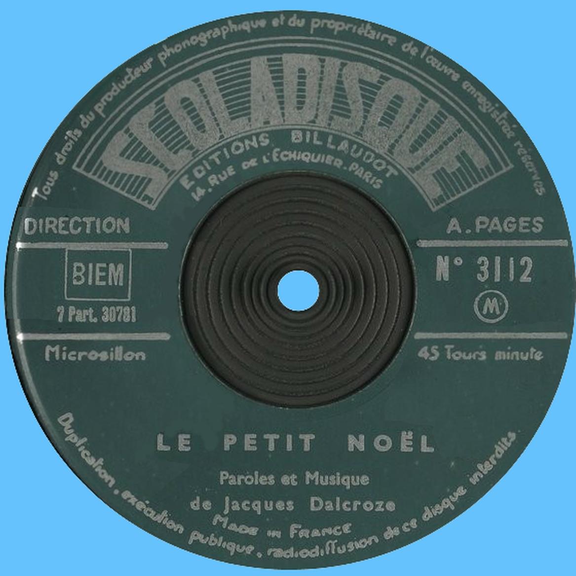 Étiquette recto du disque Scoladisque No 3112