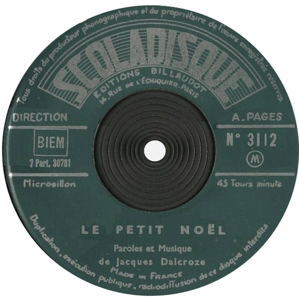 Étiquette recto du disque Scoladisque No 3112, Cliquer sur la photo pour une vue agrandie