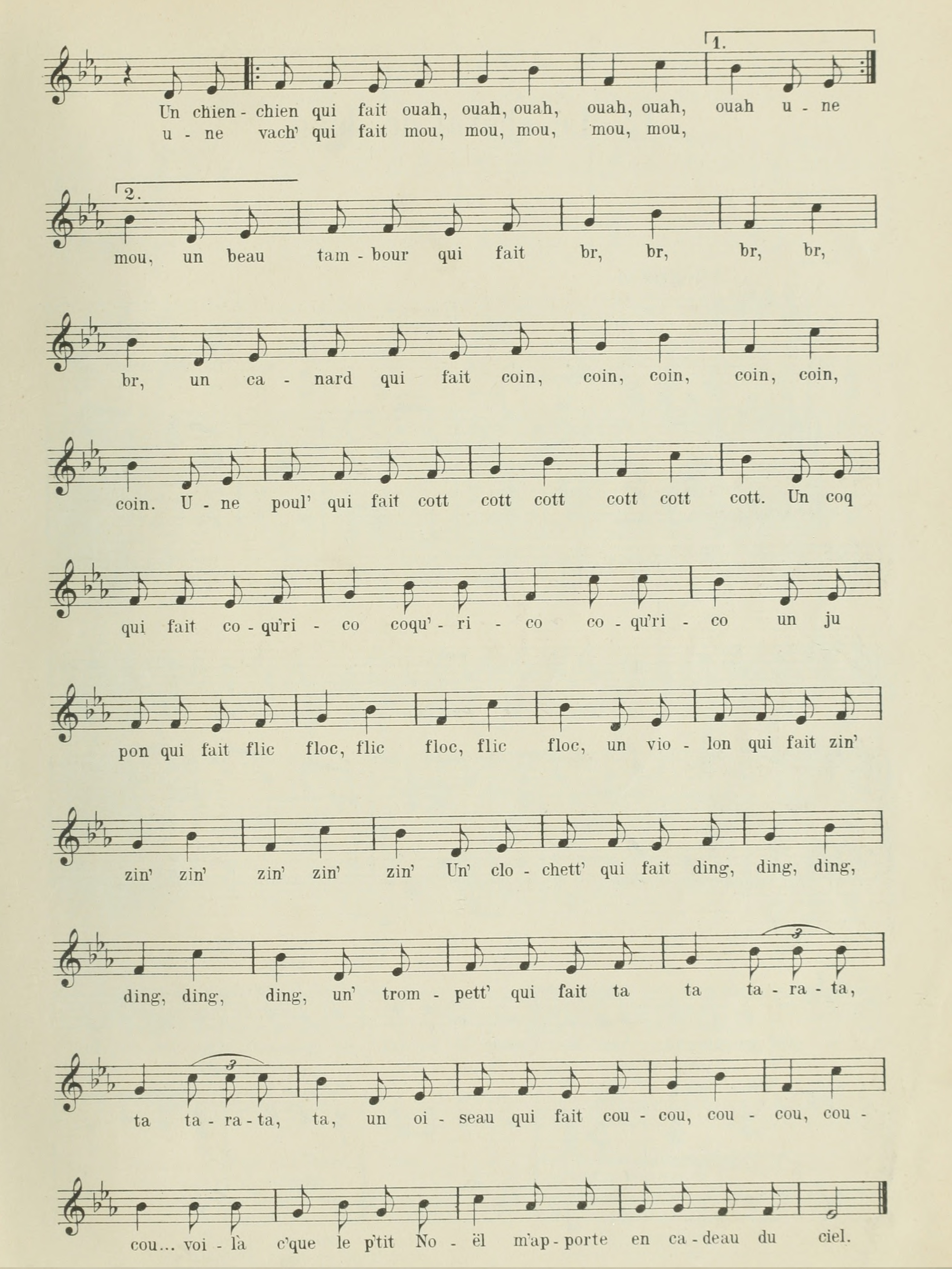 Extrait 2 de la partition publiée dans le recueil «Chansons populaires-romandes - Rondes et Enfantines», W.Sandoz, Neuchâtel