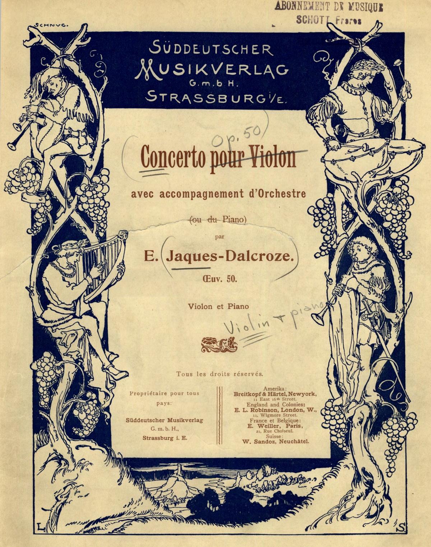 Page de couverture imprimée en 1902 par le «<i>Süddeutscher Musikverlag</i>» de Strassbourg, source: IMSLP