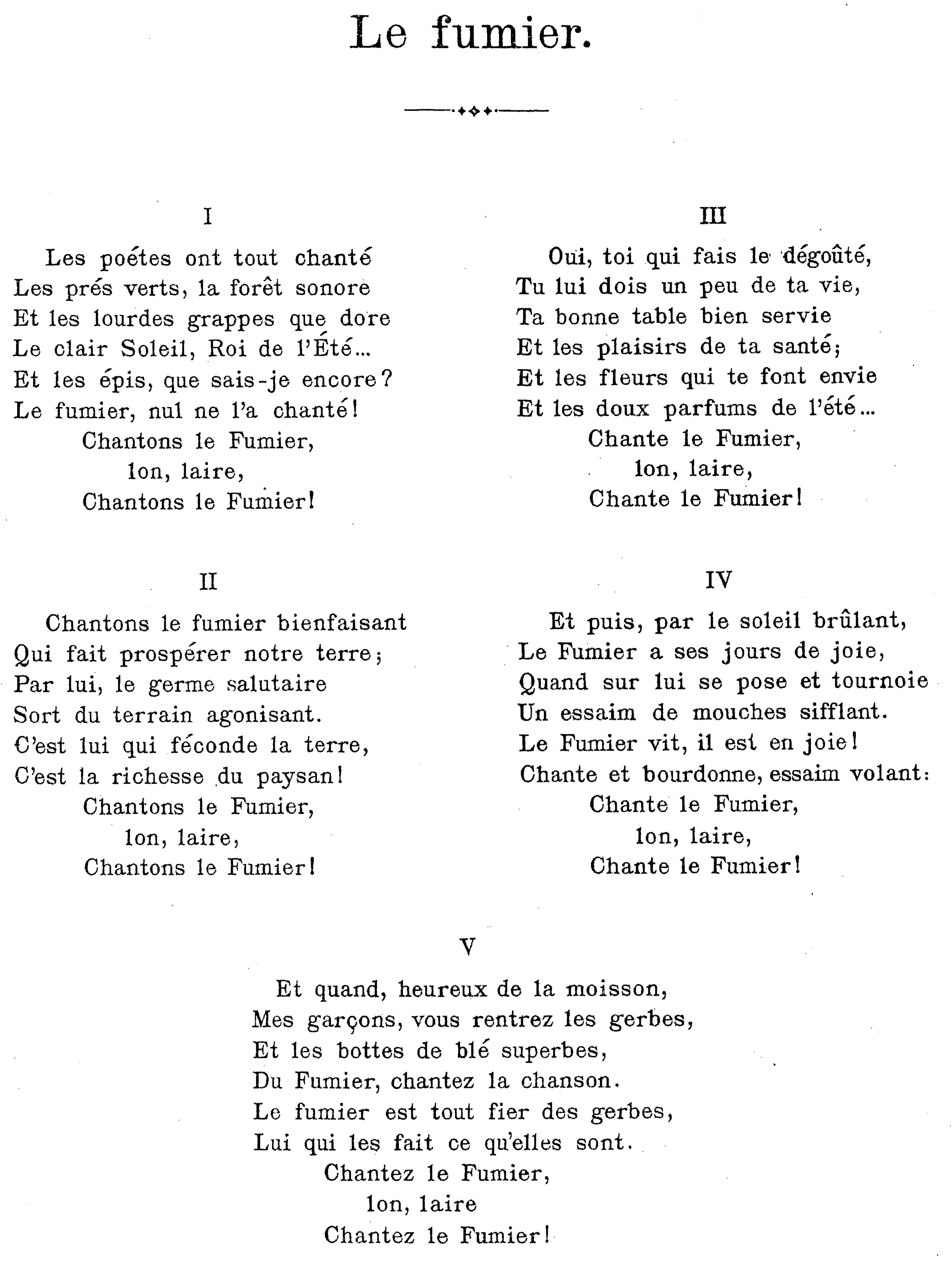 Texte de la chanson Le fumier d'Émile Jaques-Dalcroze