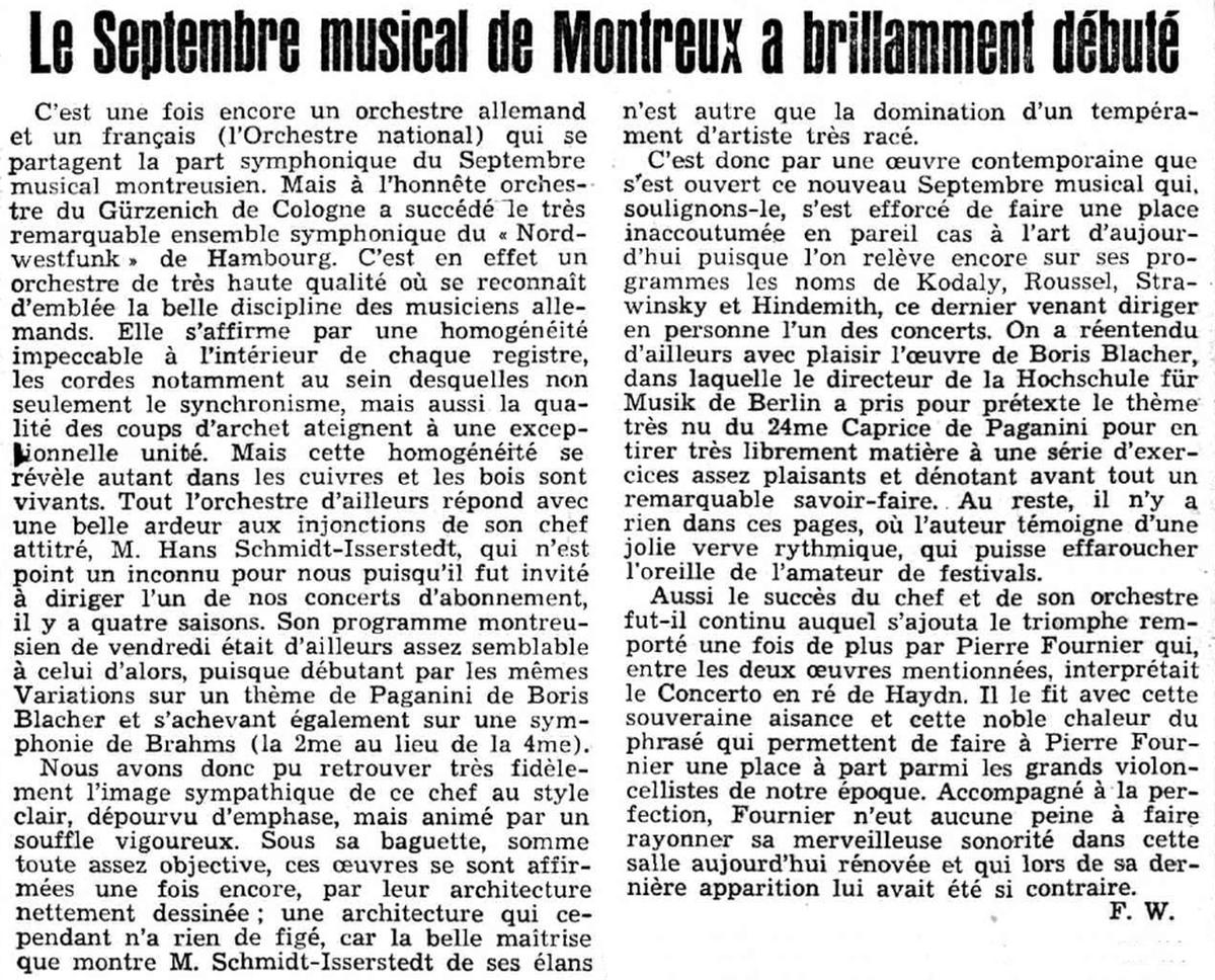 Festival de Montreux 6 septembre 1957, commentaire de Franz WALTER publié dans le Journal de Genève du 10 septembre 1957 en page 7