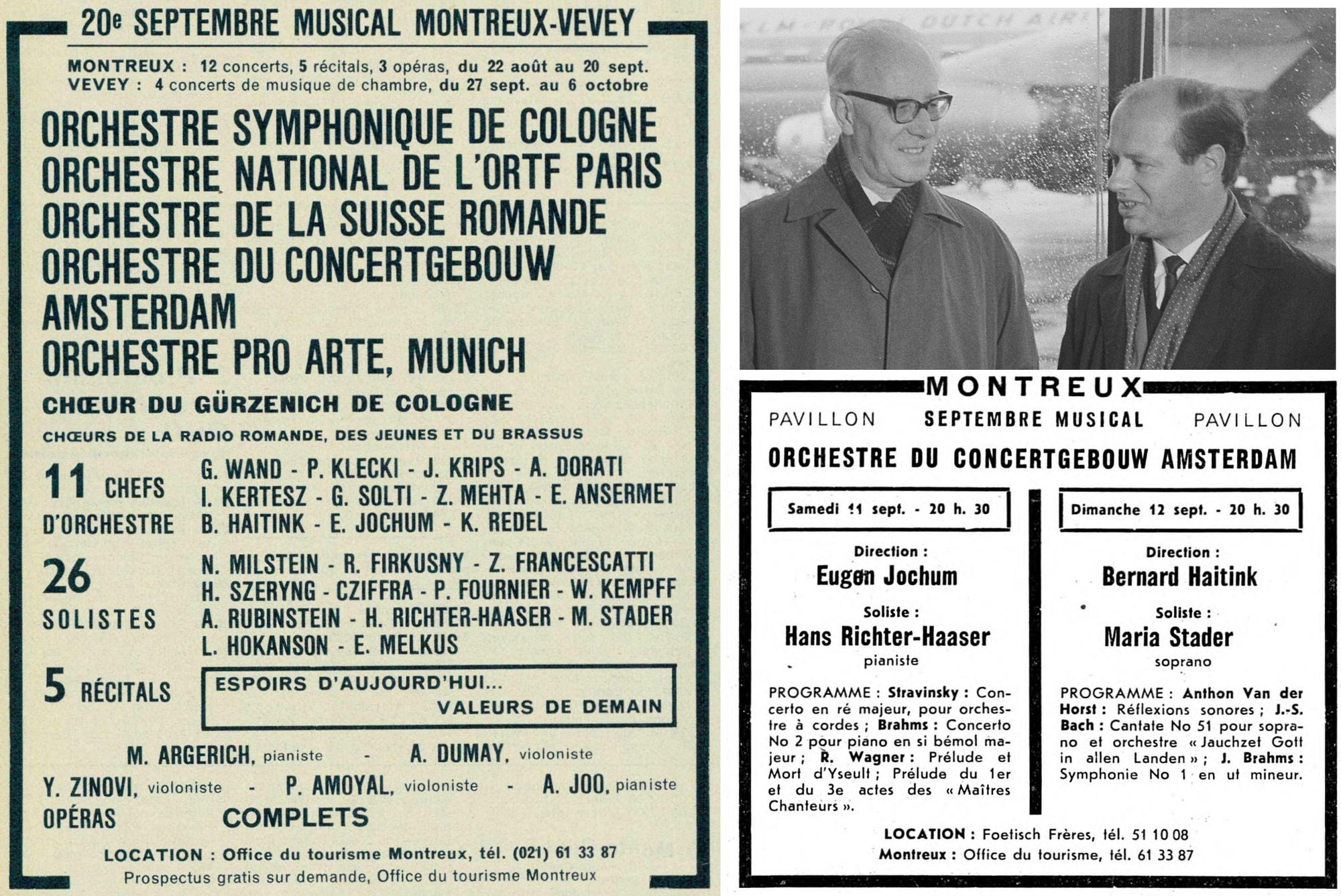 Festival de Montreux 1965, Eugen Jochum et Bernard Haitink, montage d'extraits de quotidiens et d'un extrait de la photo https://www.nationaalarchief.nl/en/research/photo-collection/aa015b82-d0b4-102d-bcf8-003048976d84 du Nationaal Archief Nederlands