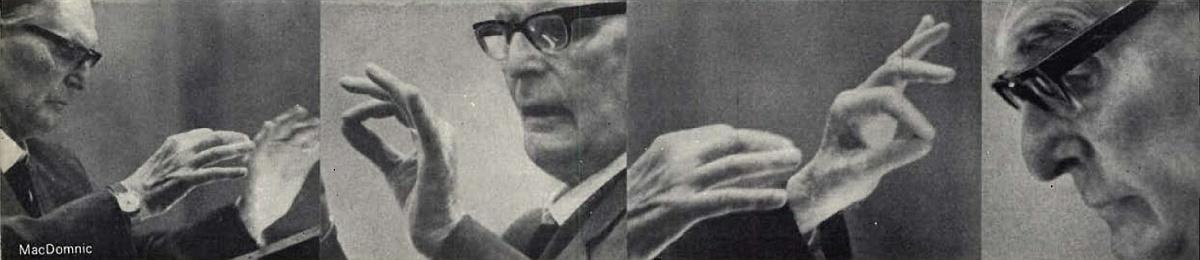 Otto Klemperer, un photo-montage réalisé par Godfrey MacDomnic, publié entre autres dans la revue The Gramophone de mai 1965, page 2 supplément publicitaire
