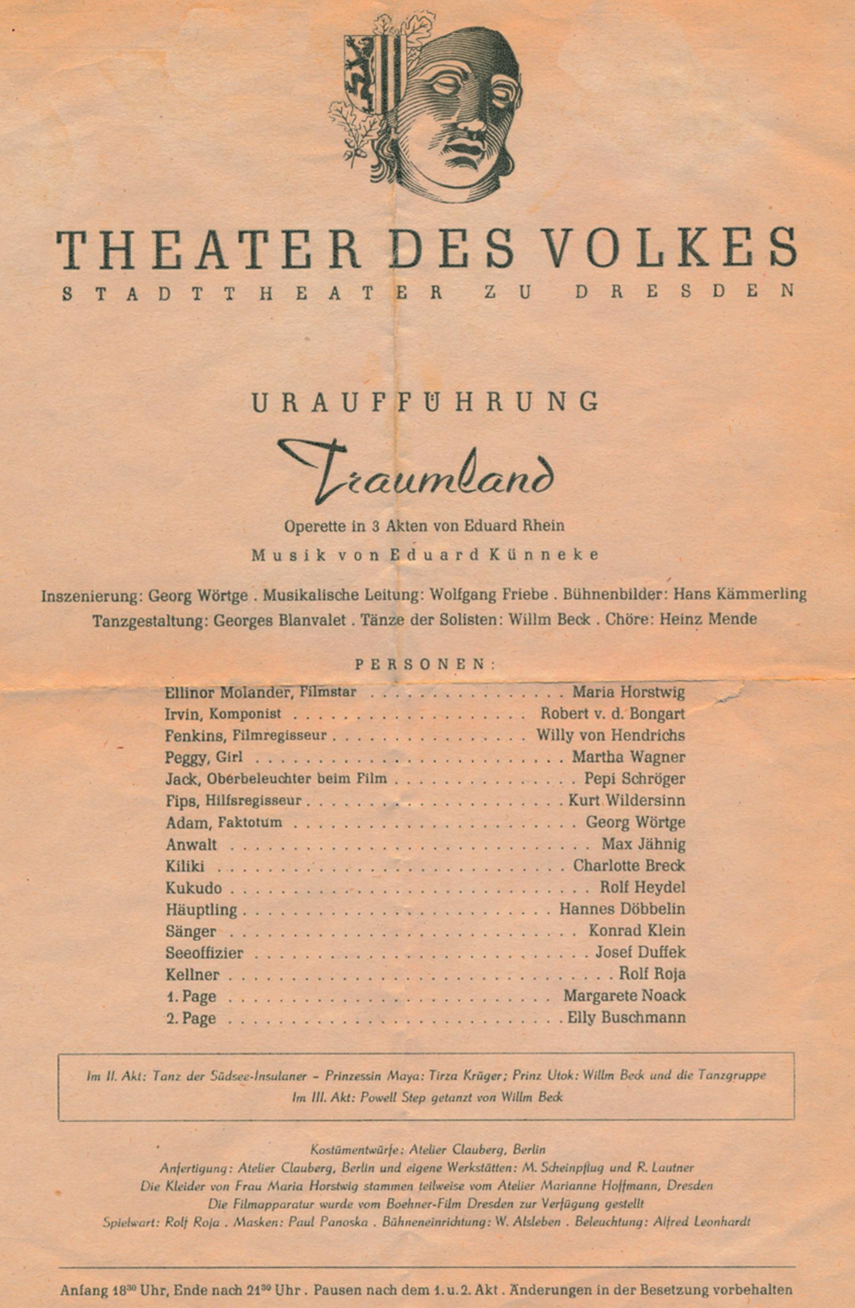 Affiche de la première de Traumland à Dresden, Cliquer sur la photo pour une vue agrandie et quelques infos