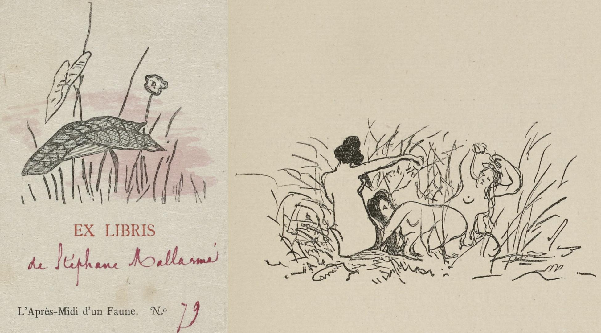 Deux dessins d'Édouard Manet publiés dans la première édition du poème de Malarmé, Cliquer sur la photo pour une vue agrandie et quelques infos