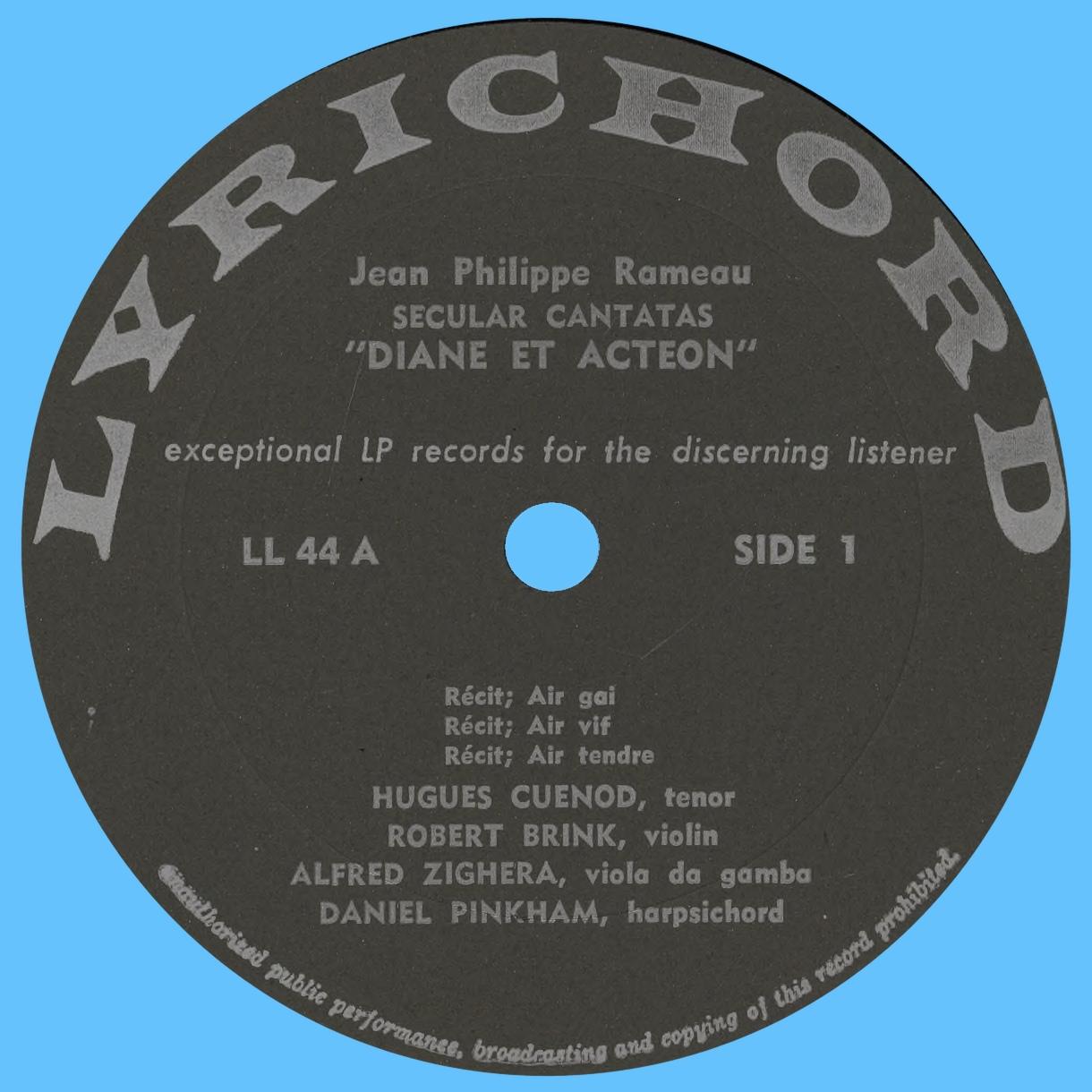 Étiquette recto du disque Lyrichord LL 44