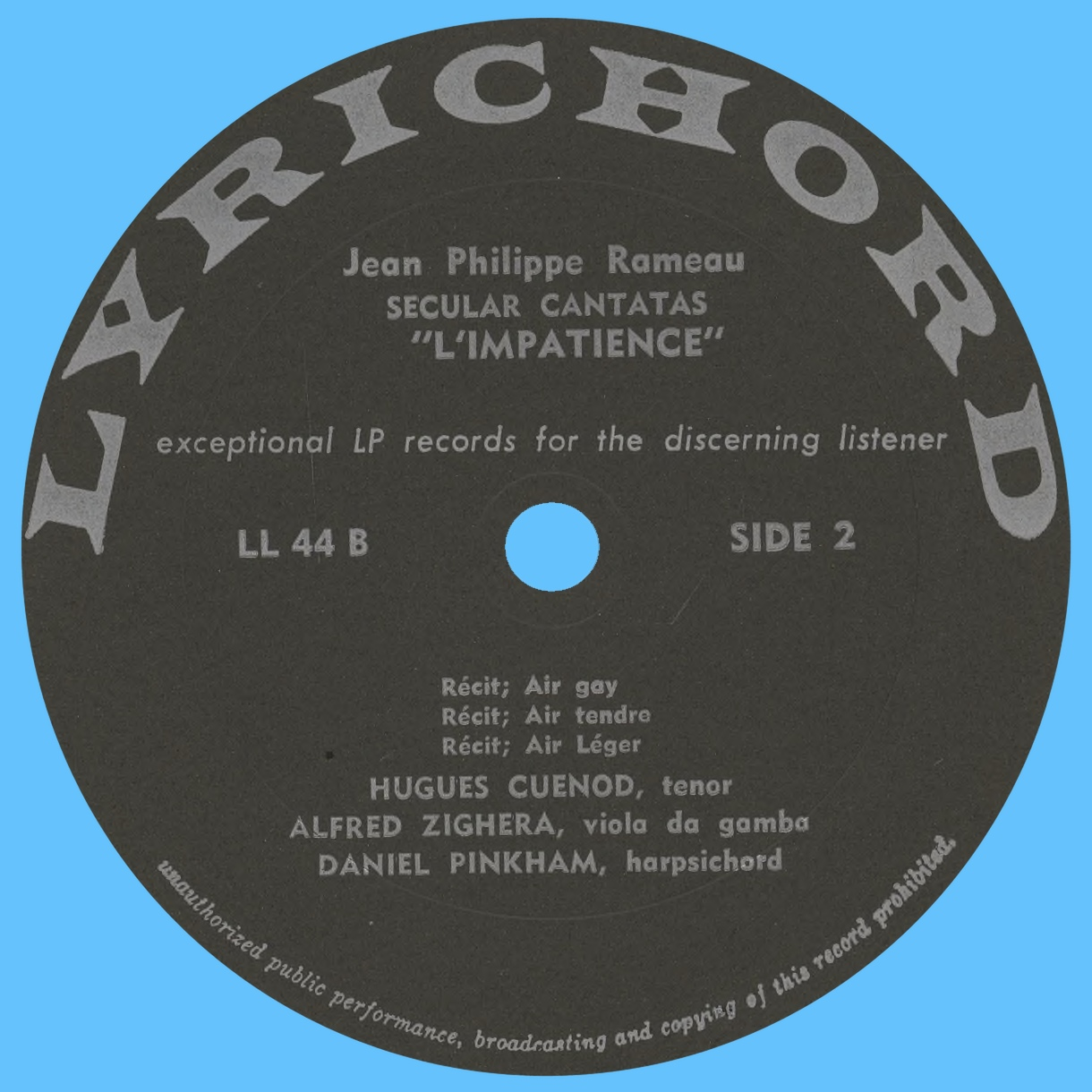 Étiquette verso du disque Lyrichord LL 44