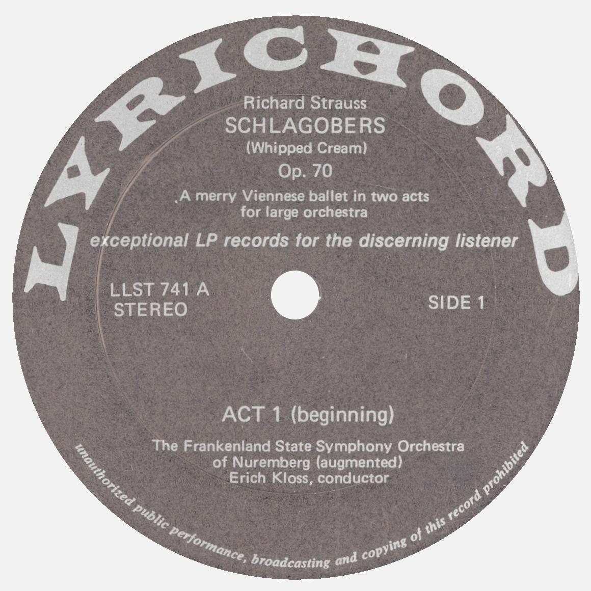 Étiquette recto du 1er disque de l'album Lyrichord LLST 741