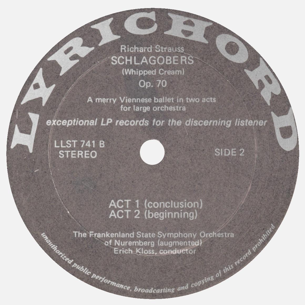 Étiquette verso du 1er disque de l'album Lyrichord LLST 741
