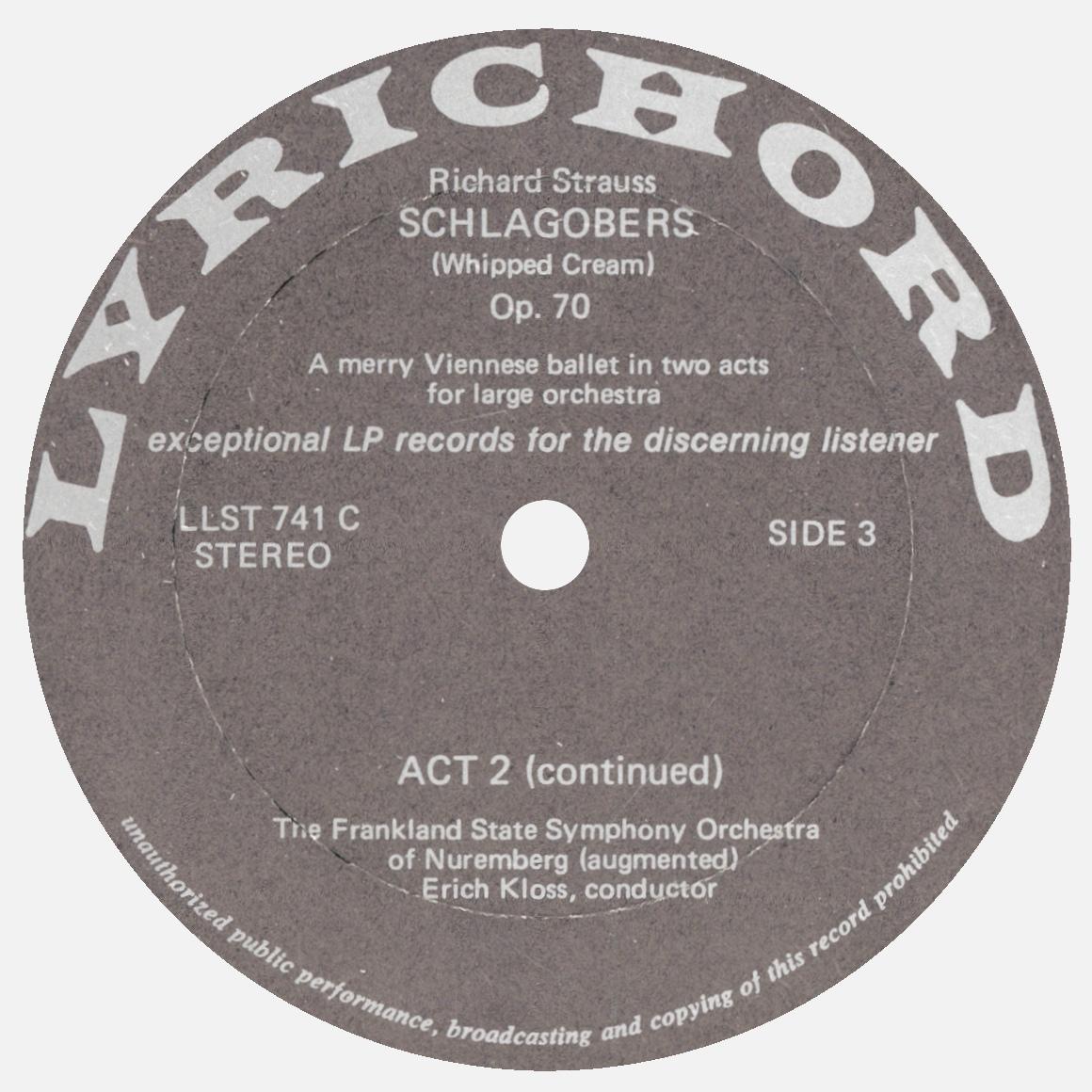 Étiquette recto du 2e disque de l'album Lyrichord LLST 741