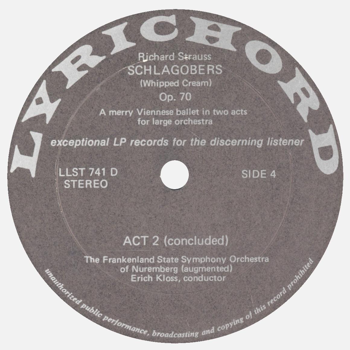 Étiquette verso du 2e disque de l'album Lyrichord LLST 741