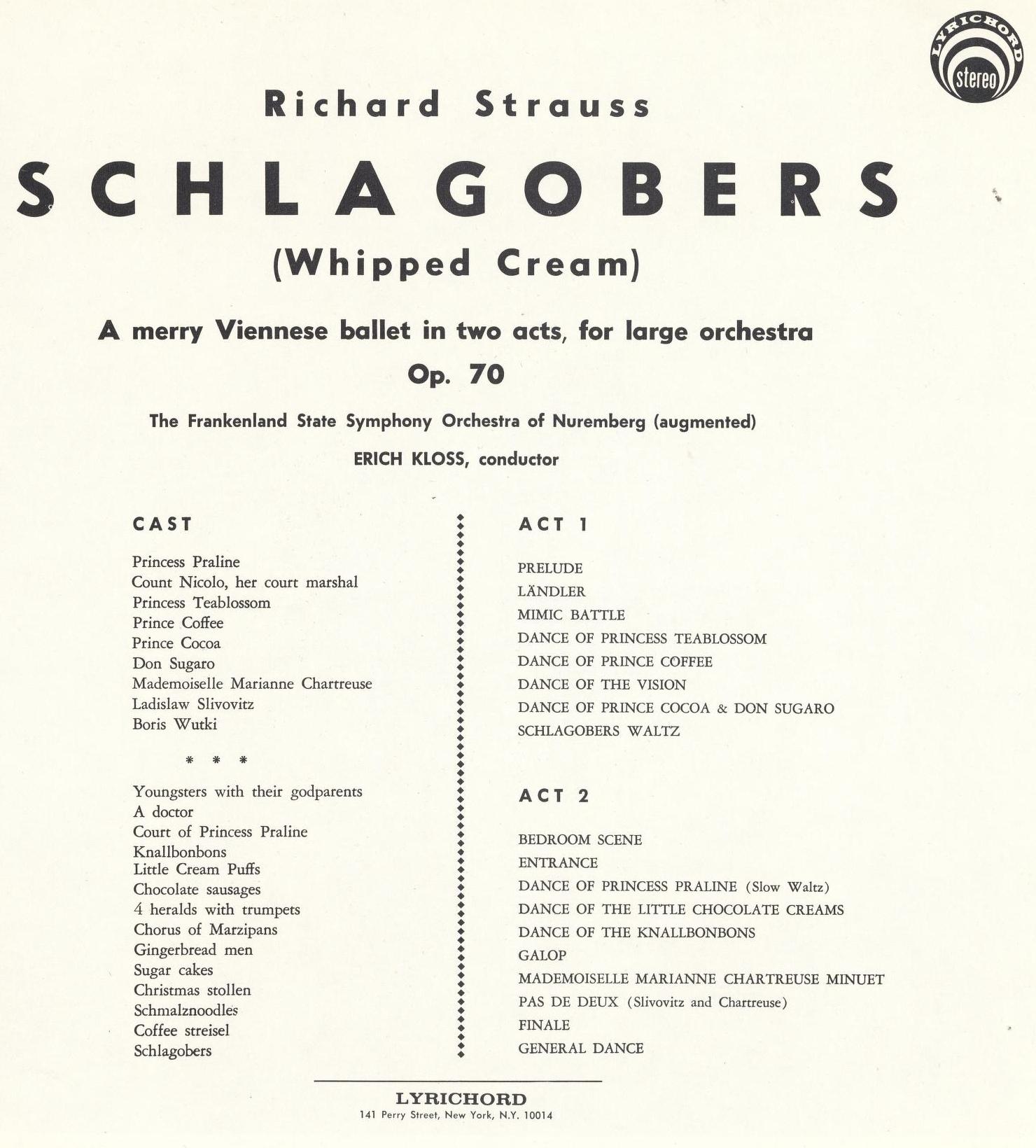 Insert de l'album Lyrichord Stéréo LLST 741