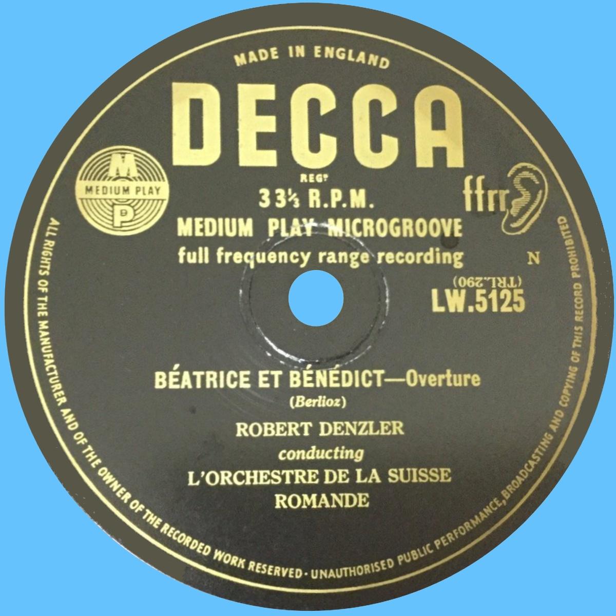 Étiquette du verso du disque Decca LW 5125